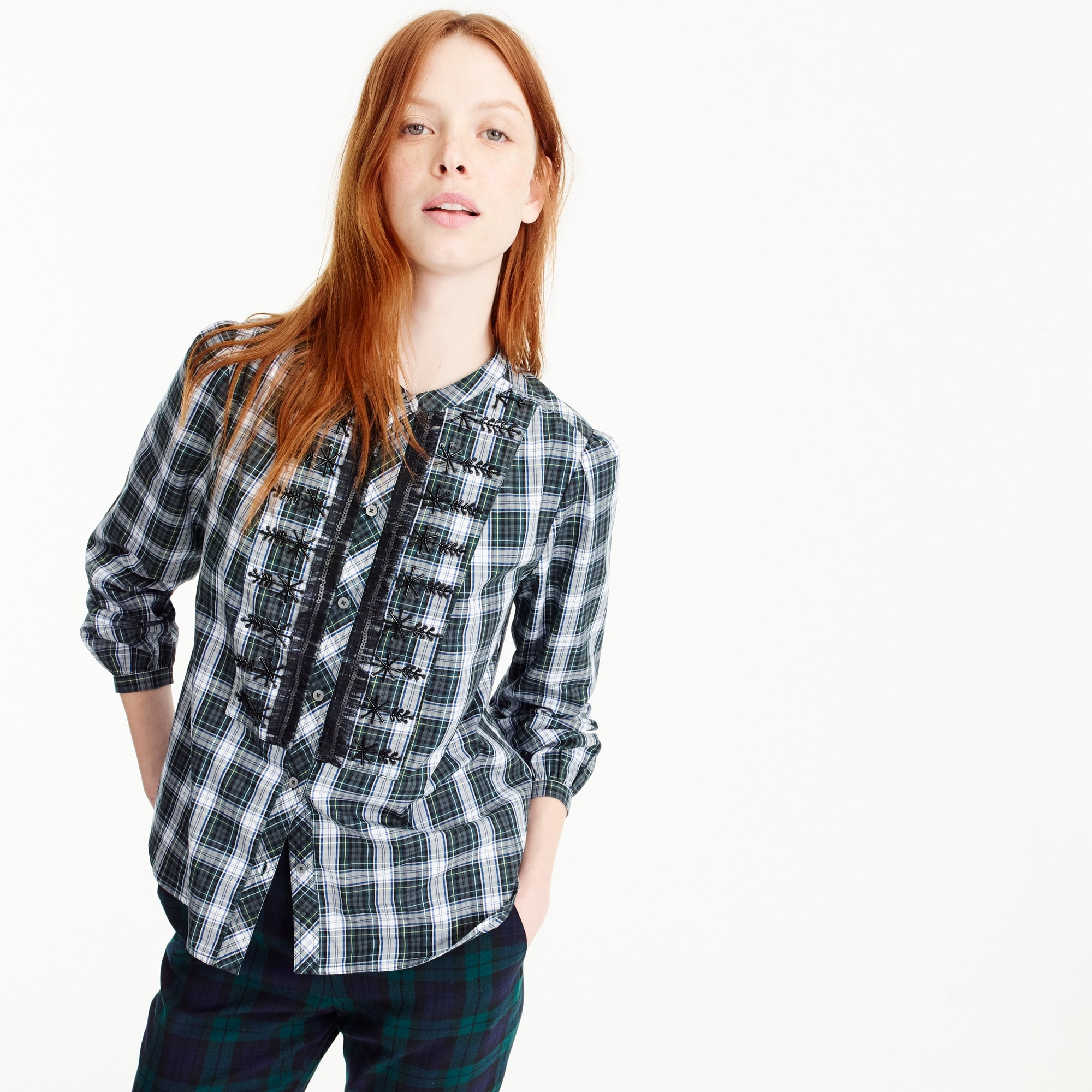 Petite embellished button-up shirt in forest tartan