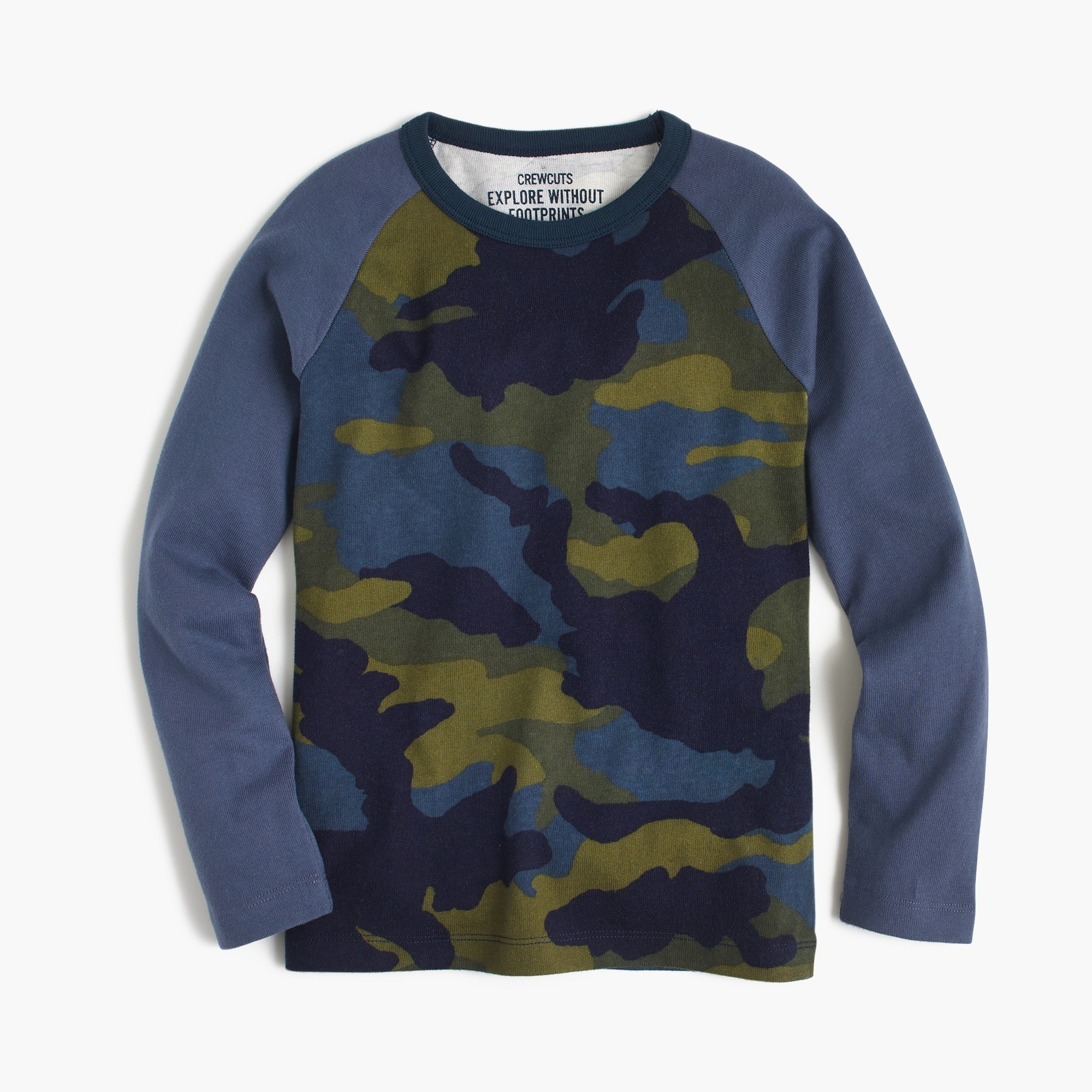 Boys' baseball T-shirt in camo print