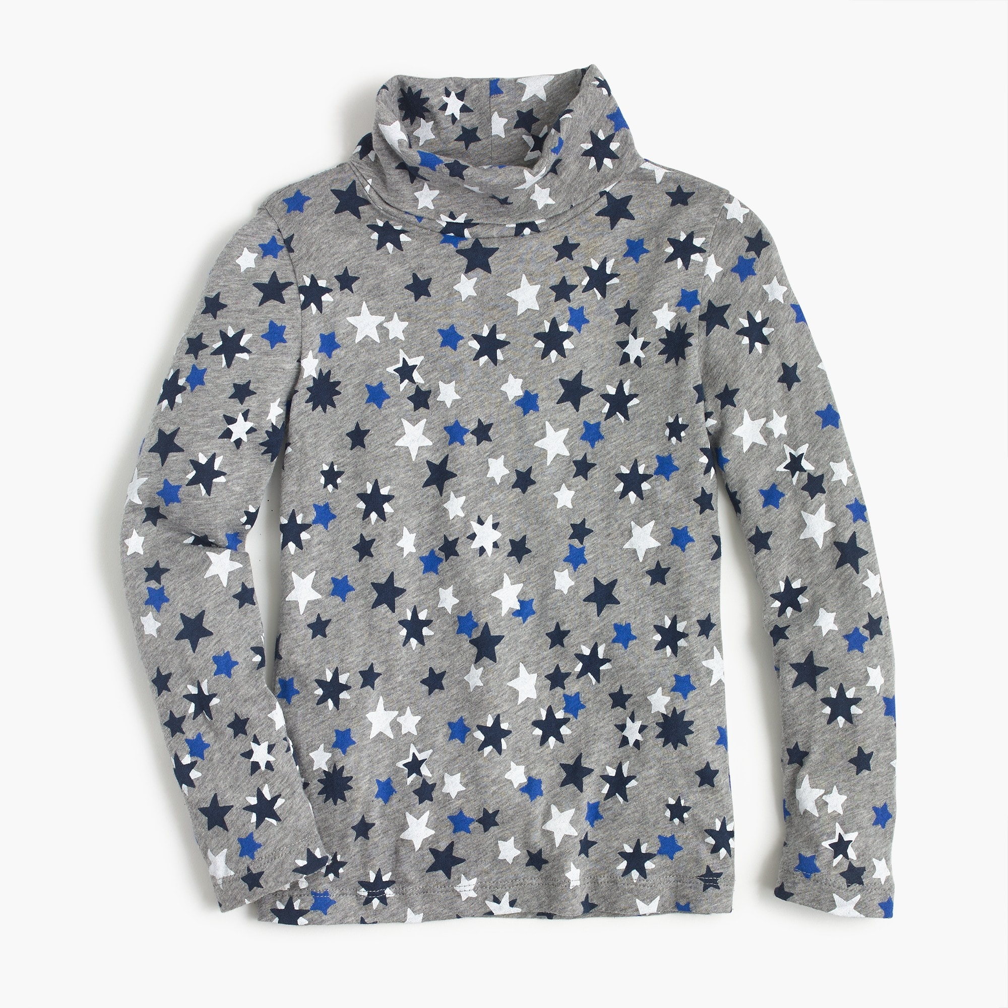 Girls' star-printed tissue turtleneck T-shirt