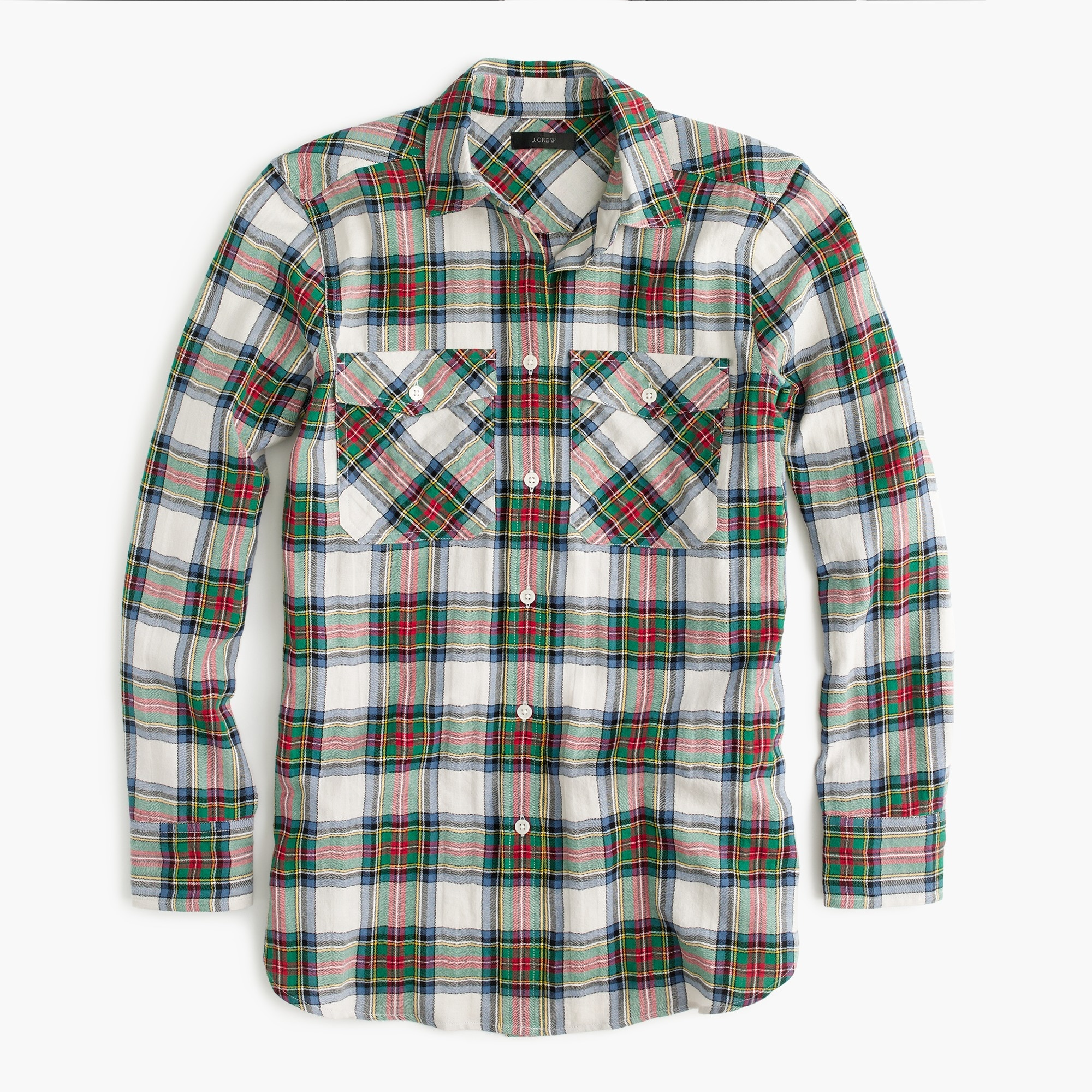 Oversized button-up shirt in Stewart tartan