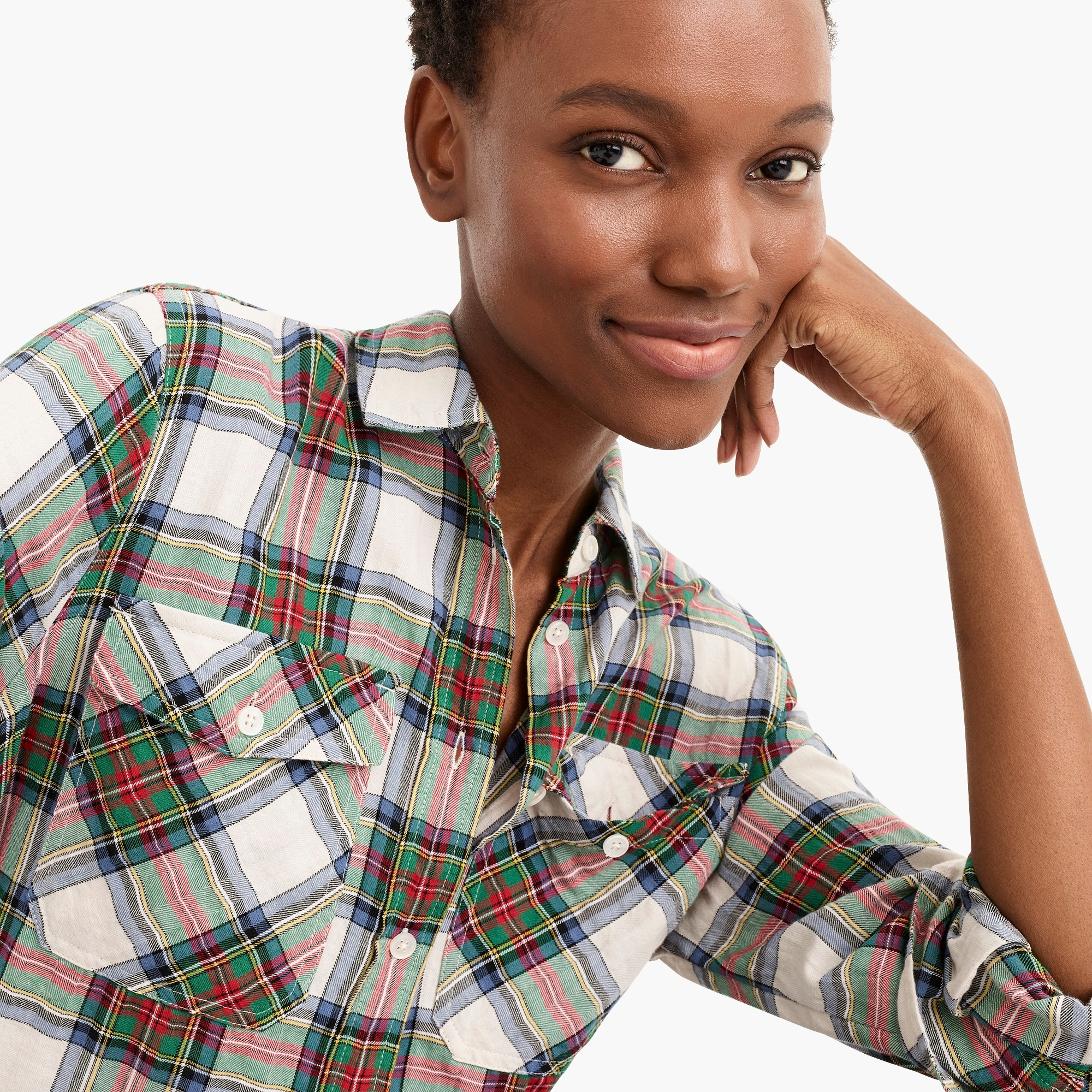 Image 3 for Tall boyfriend shirt in stewart plaid