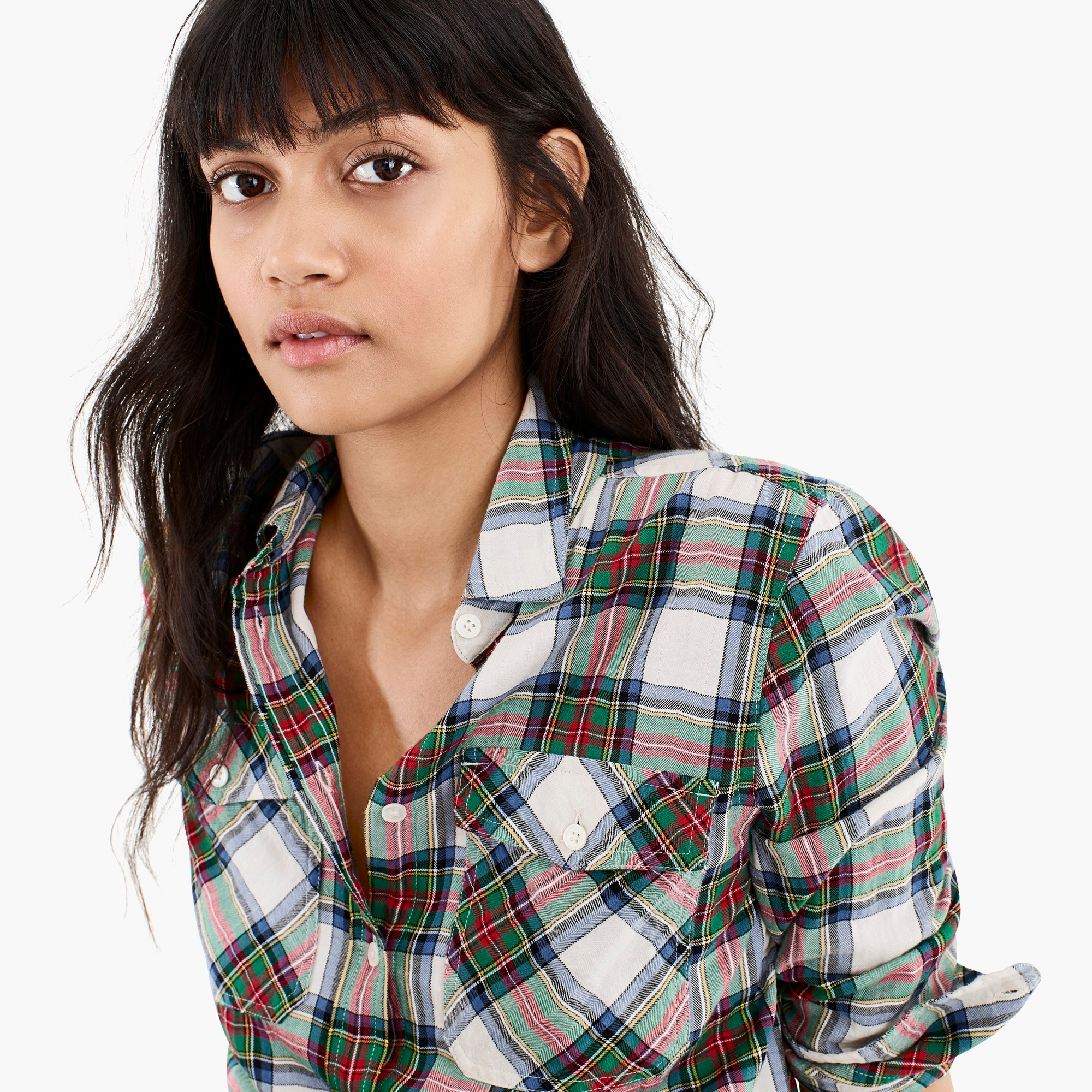 Image 2 for Oversized button-up shirt in Stewart tartan