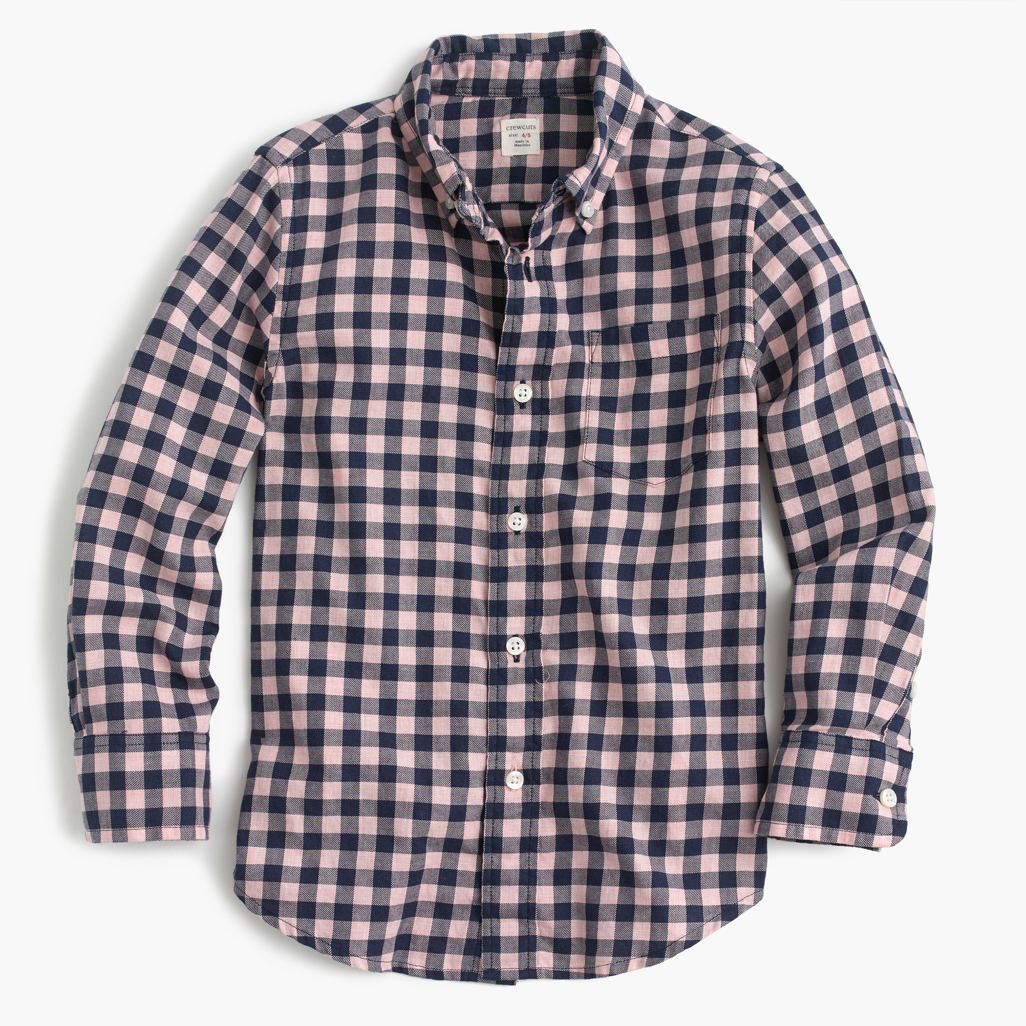 Kids' midweight flannel shirt in navy check