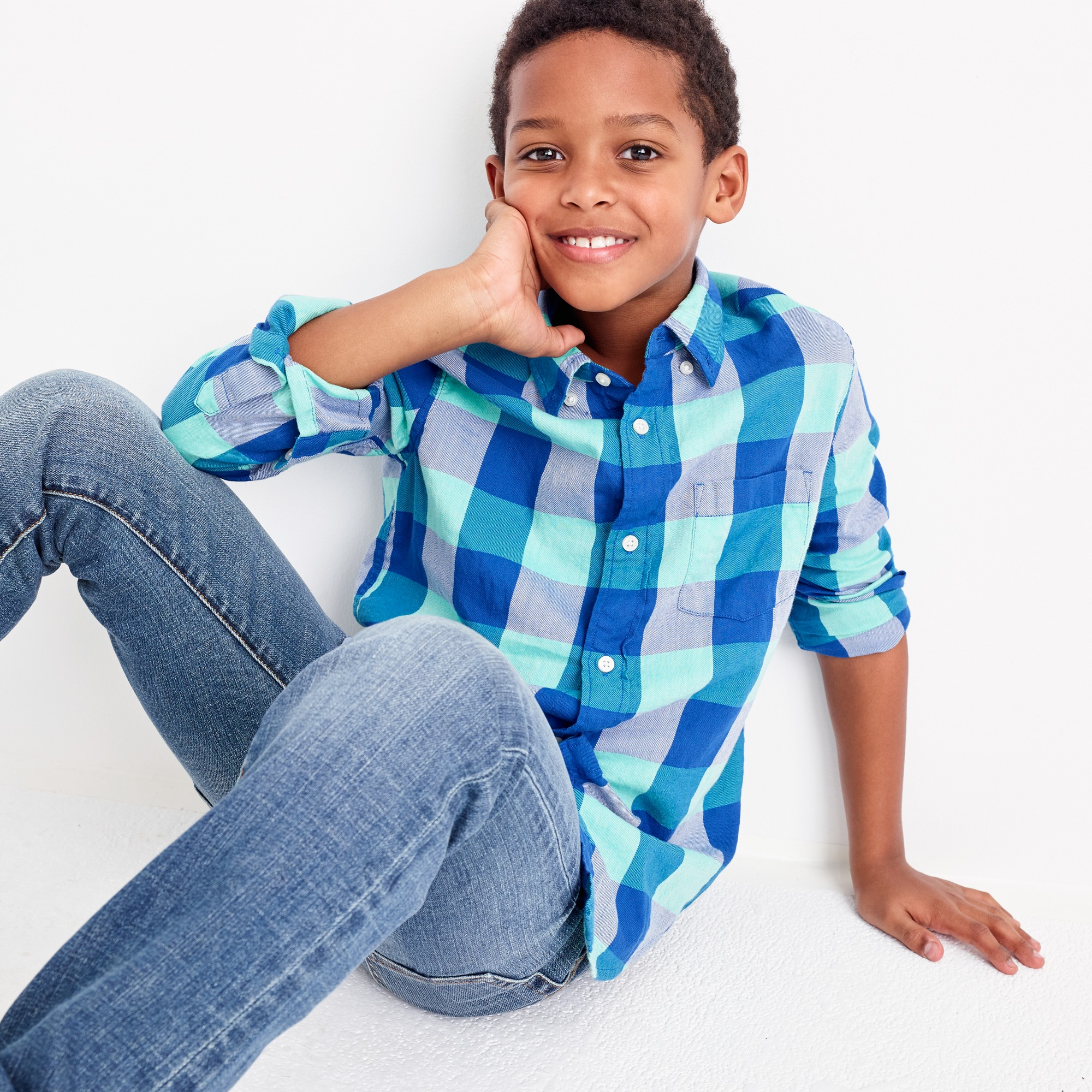 Kids' lightweight flannel shirt in turquoise plaid