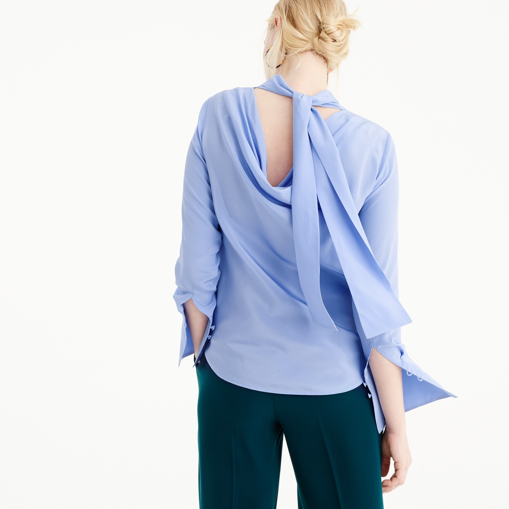Tall reversible-bow silk top