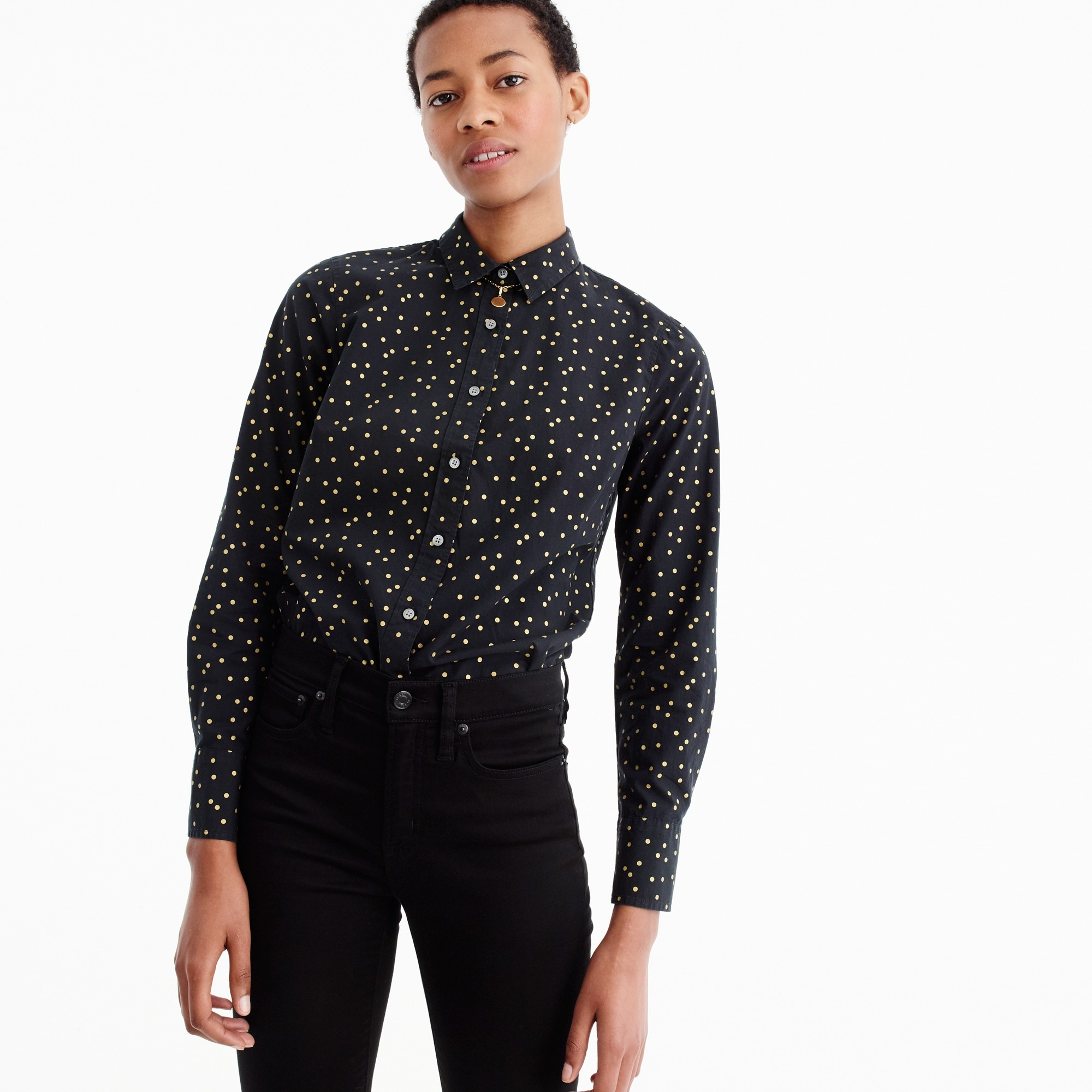 perfect shirt in heather flannel foil dot : women button-ups