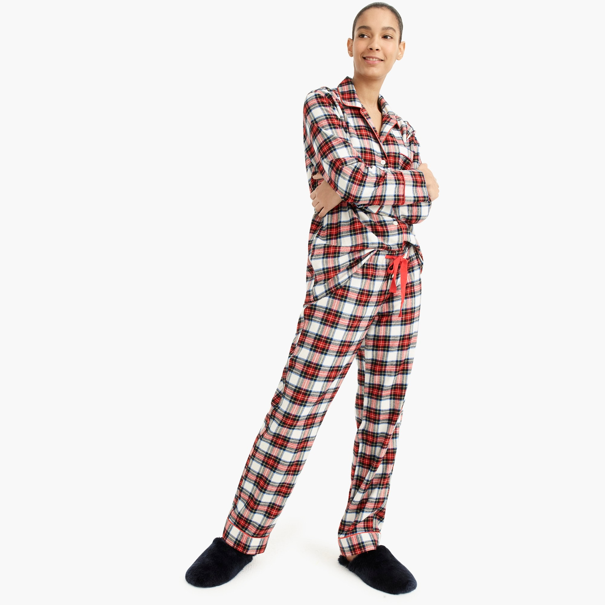 womens Flannel pajama set in white-out plaid