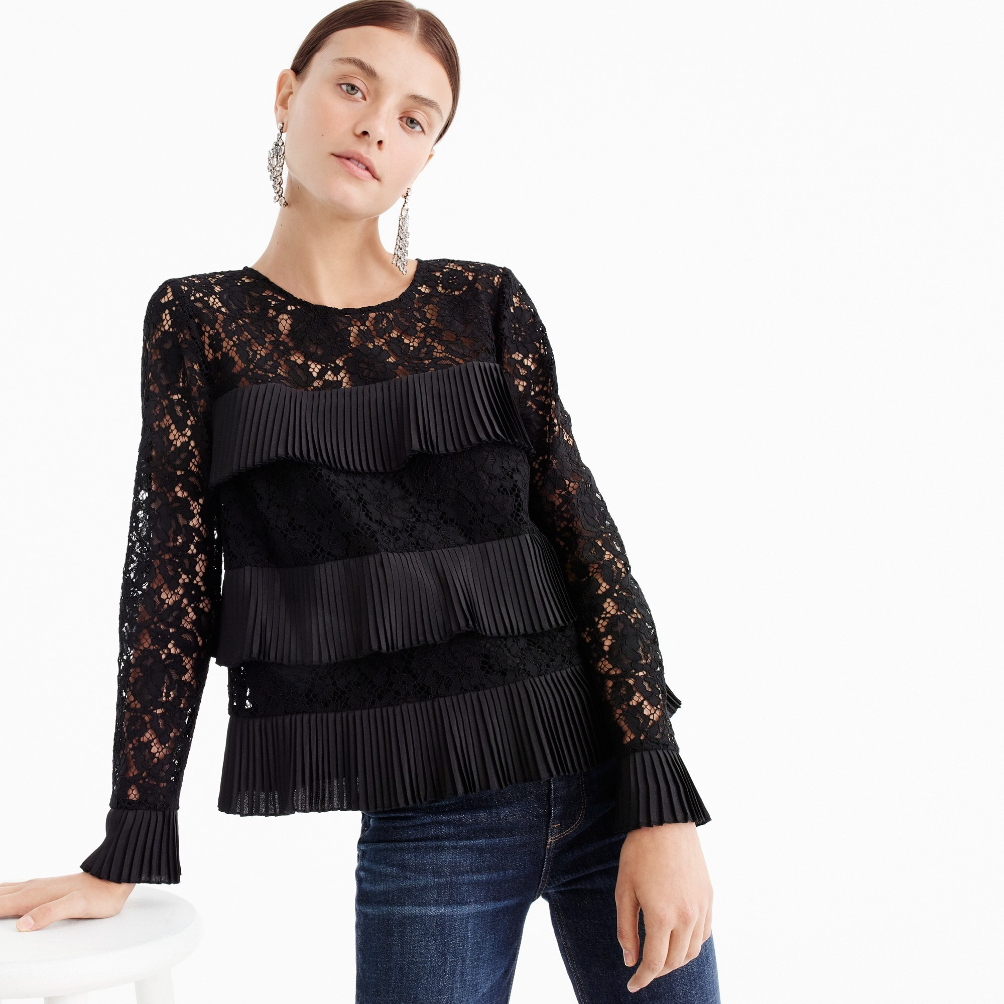 womens Lace top with pleats