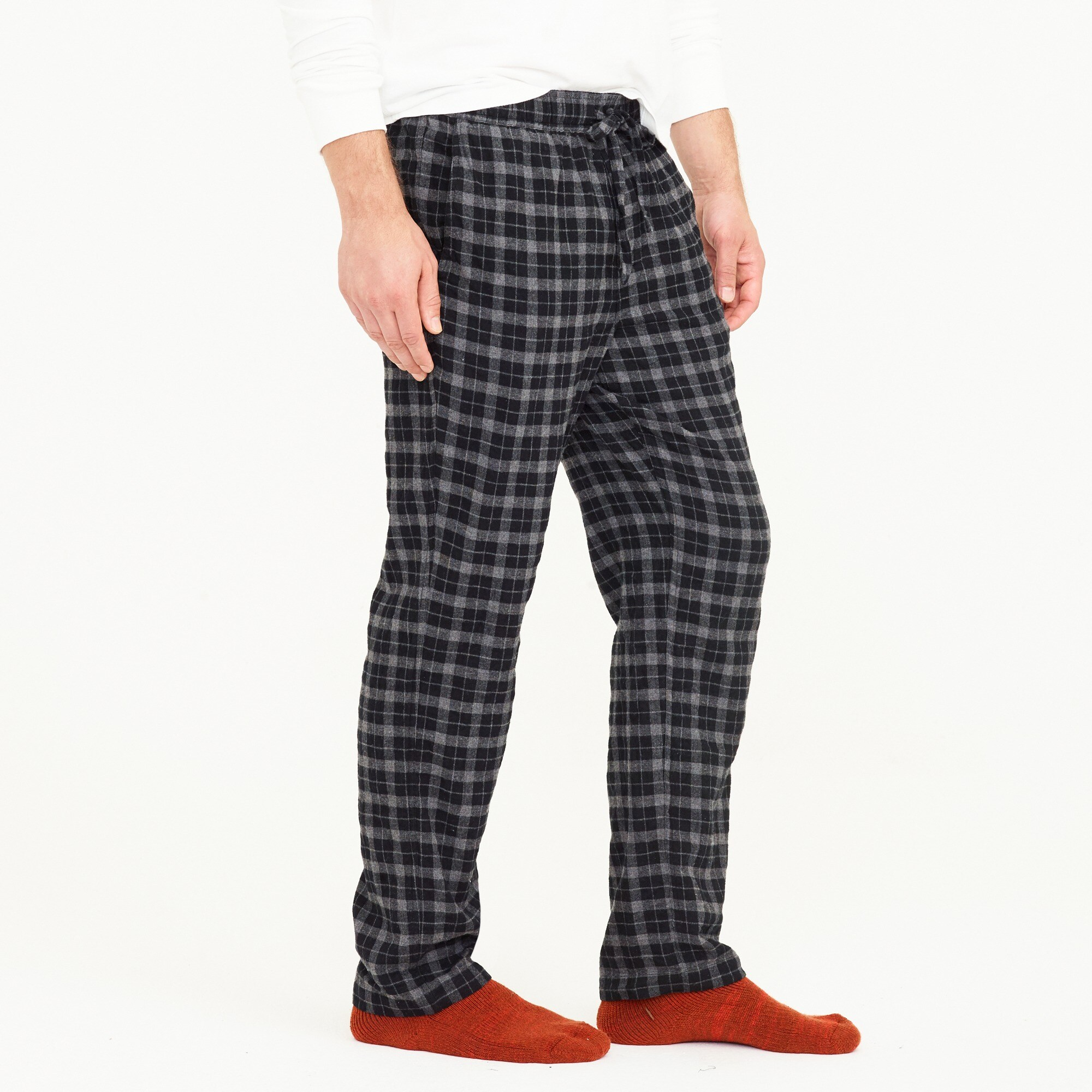 Image 3 for Cotton lounge pant in charcoal plaid