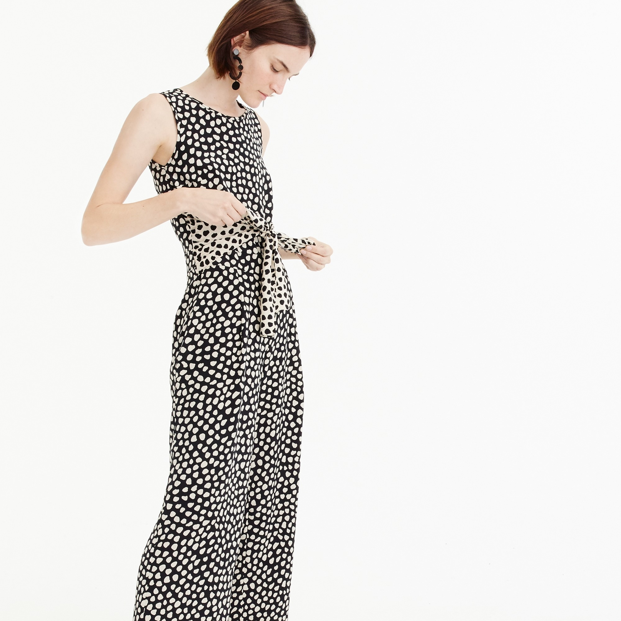 Image 3 for Petite Tie-front jumpsuit in pebble print