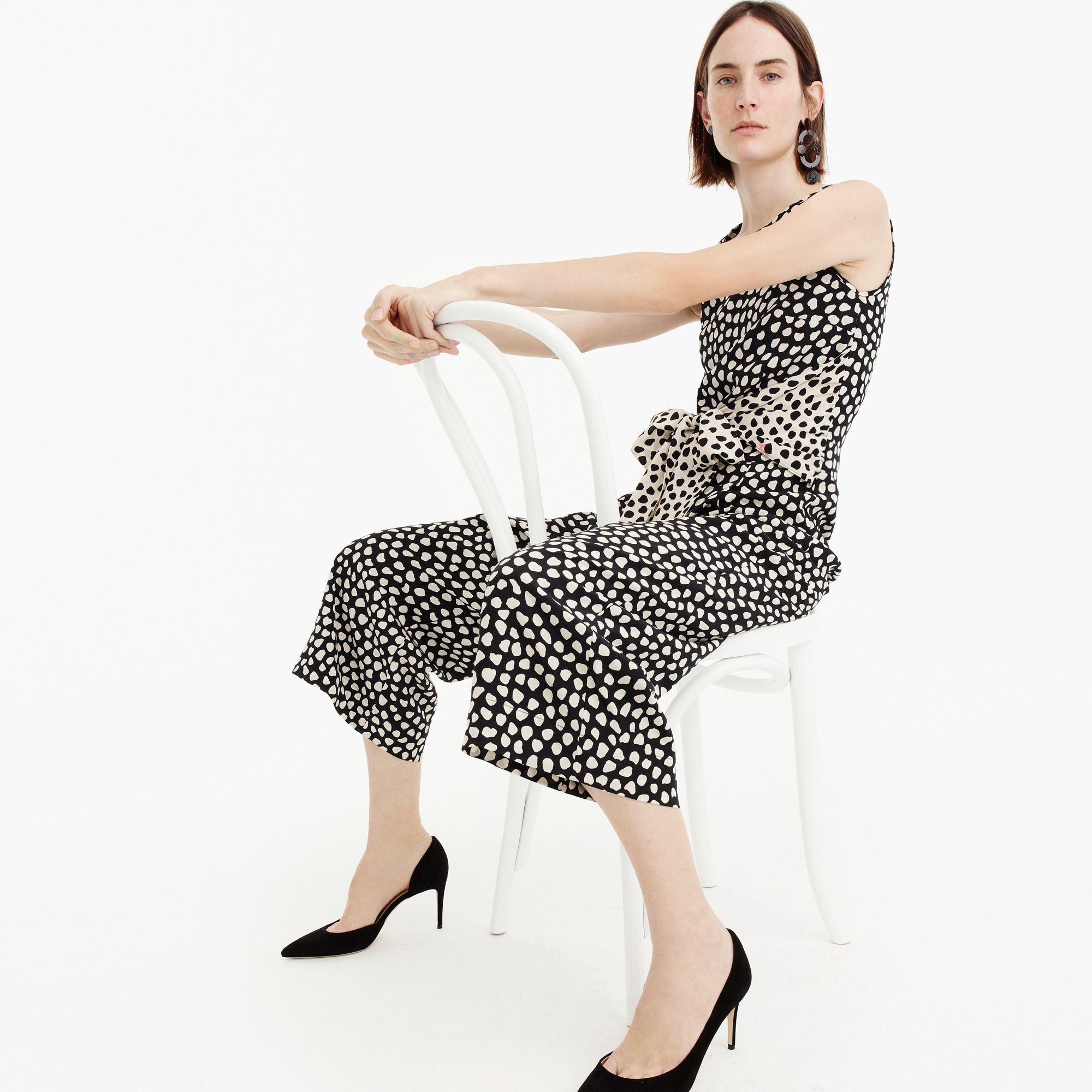 Image 1 for Petite Tie-front jumpsuit in pebble print