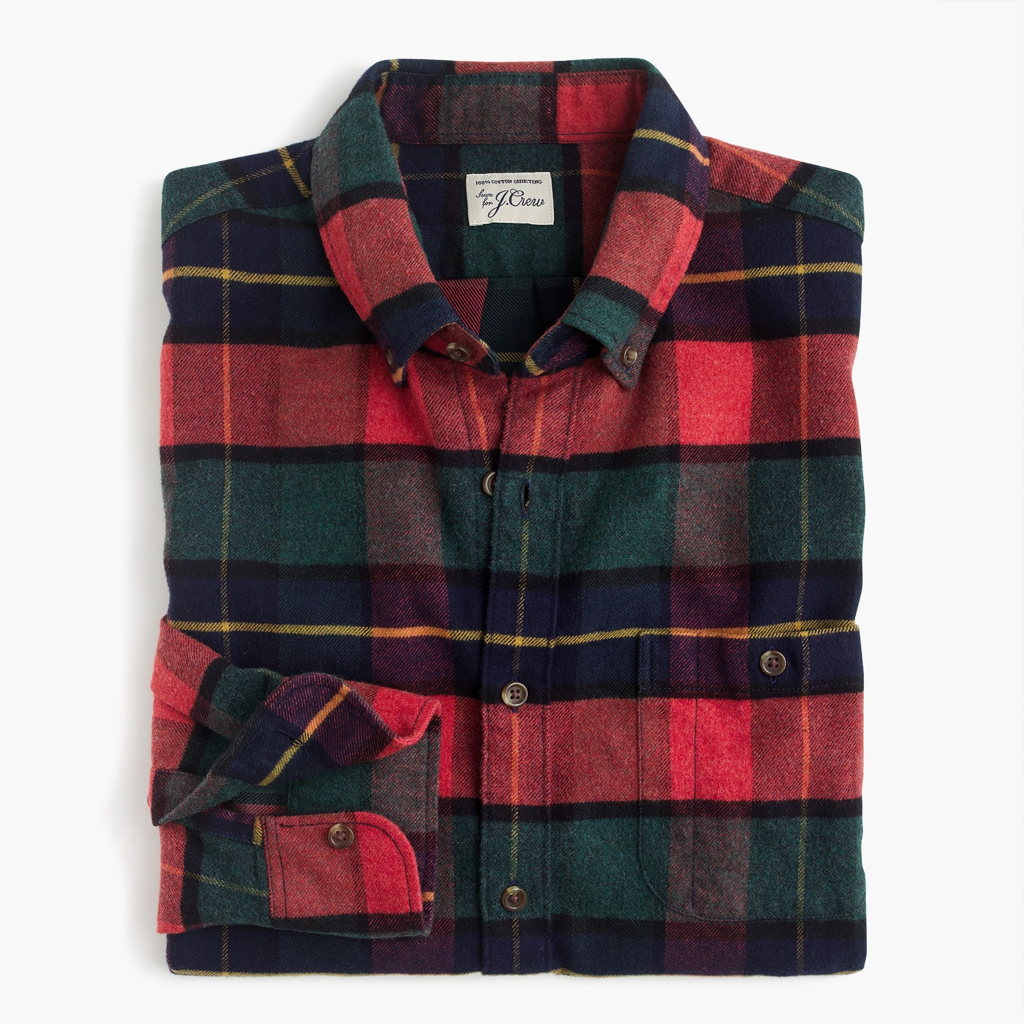 Image 1 for Slim brushed heather elbow-patch shirt in red plaid