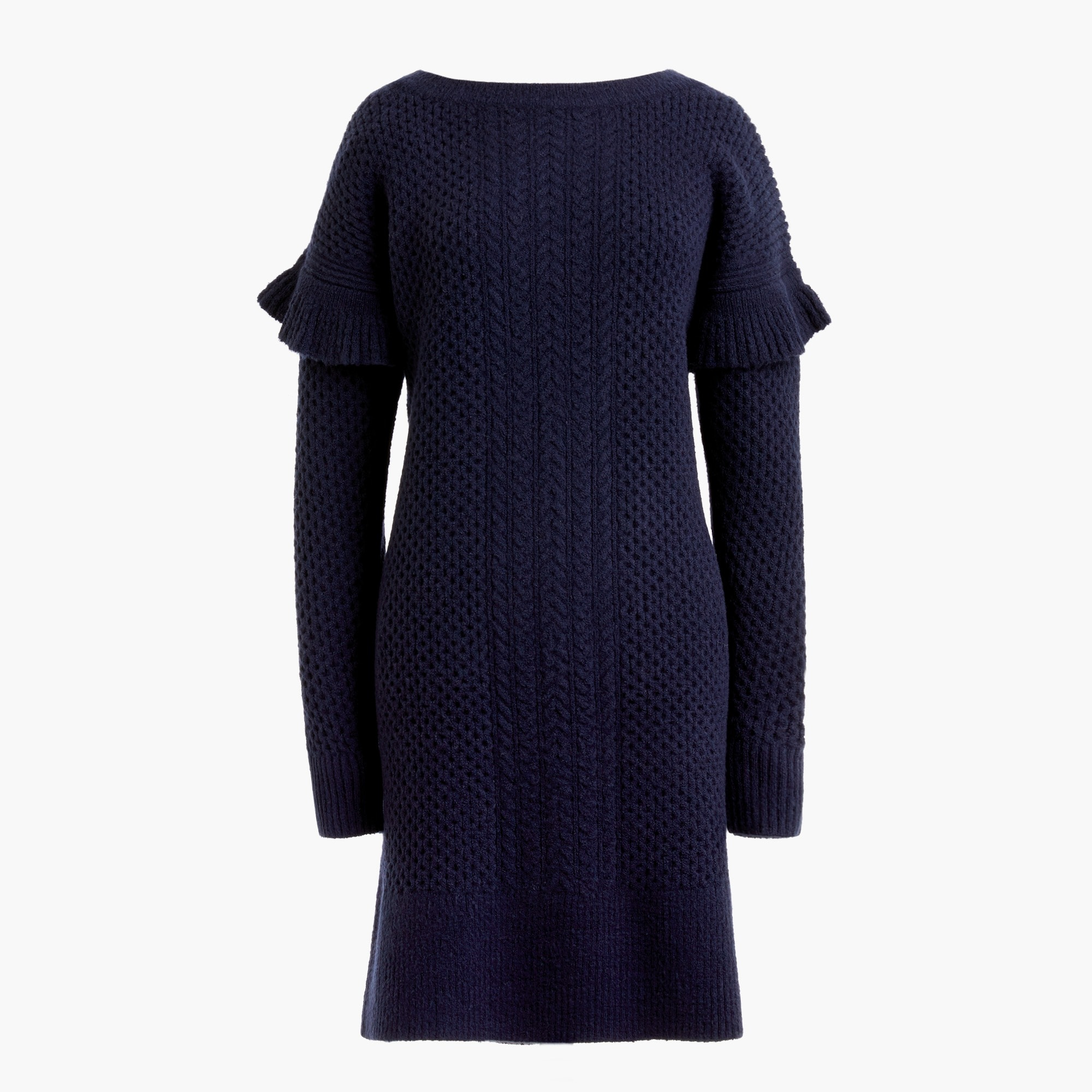 women's cable-knit ruffle-sleeve sweater-dress