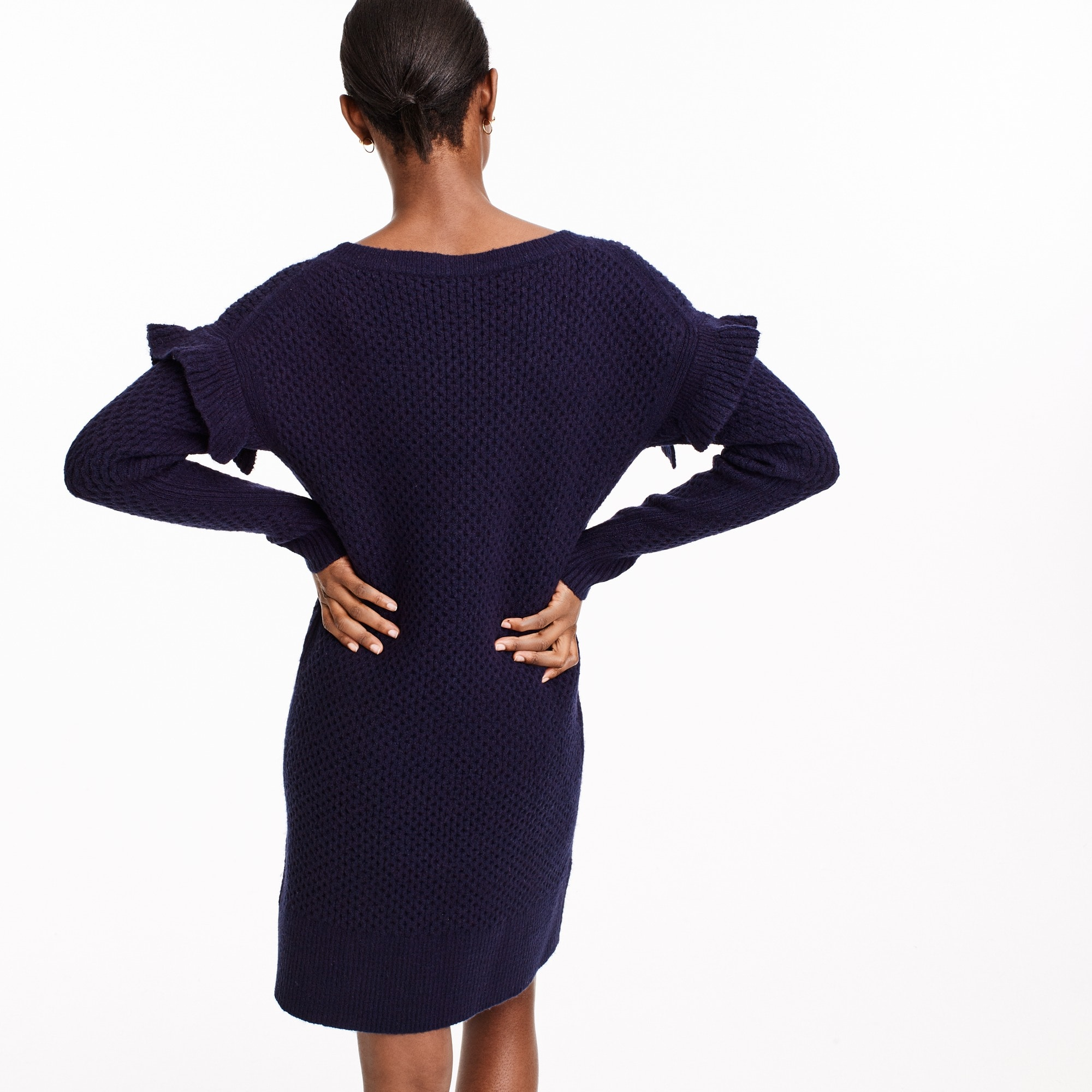 Image 3 for Cable-knit ruffle-sleeve sweater-dress