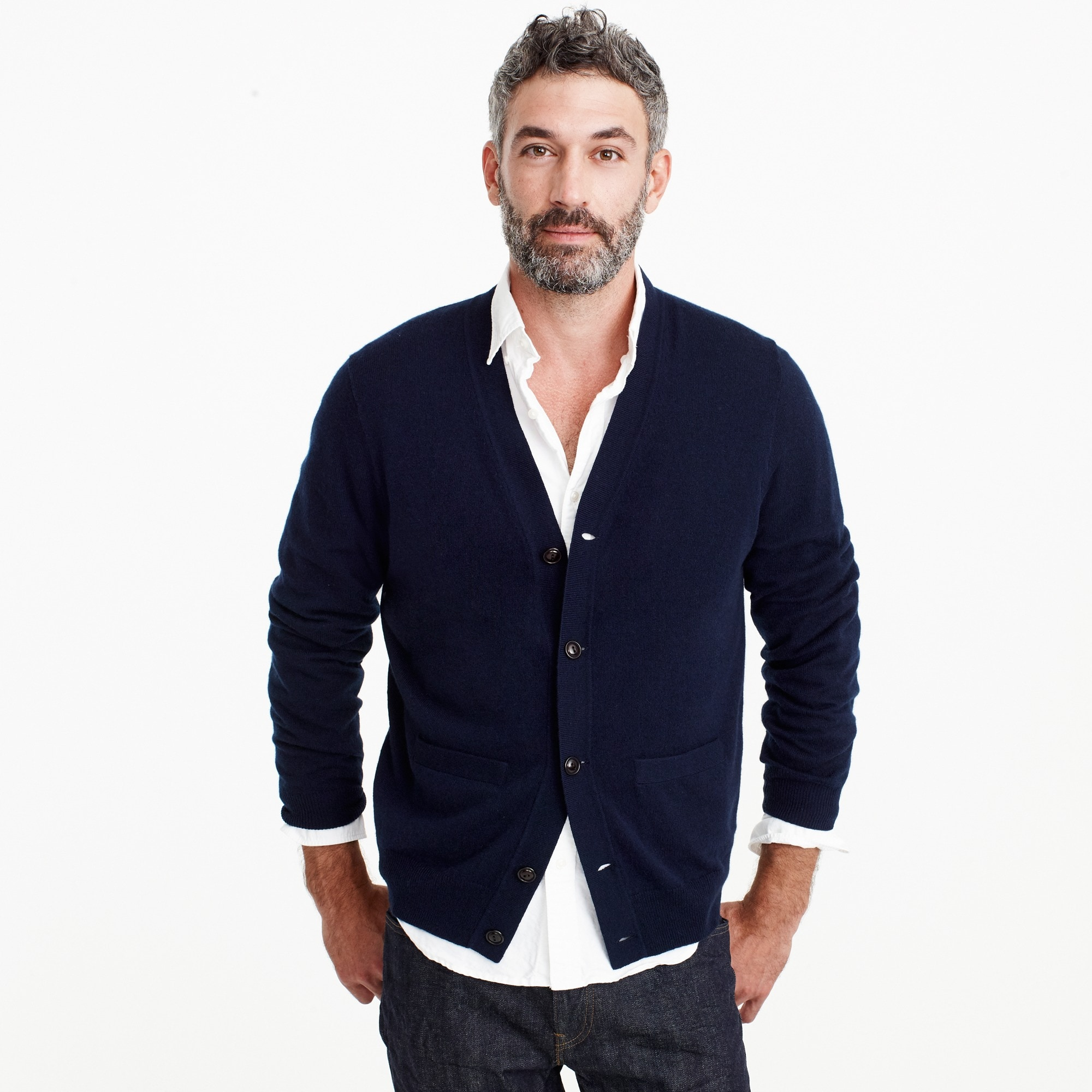 Everyday cashmere cardigan in deep navy men sweaters c