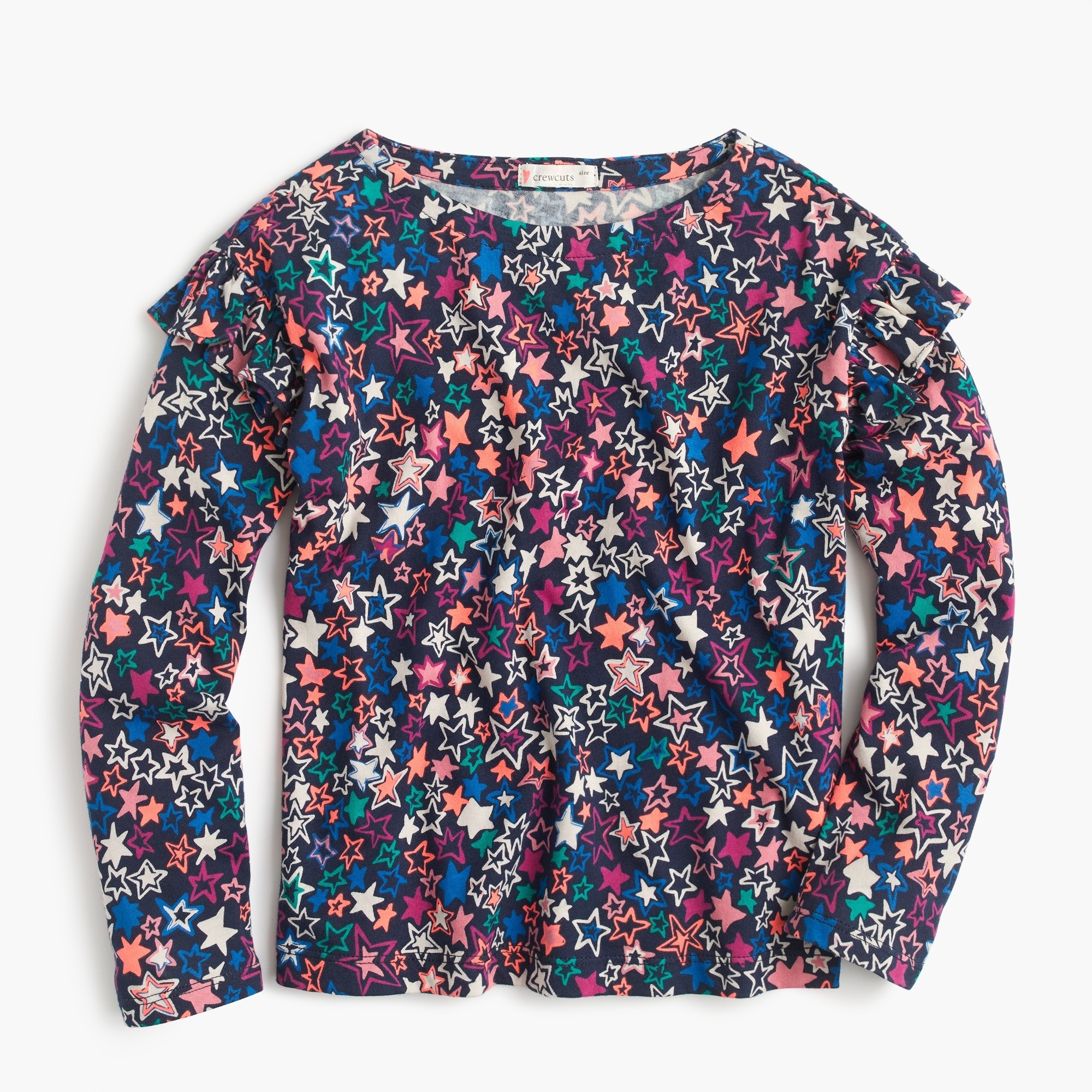 Girls' star-printed long-sleeve T-shirt with ruffles