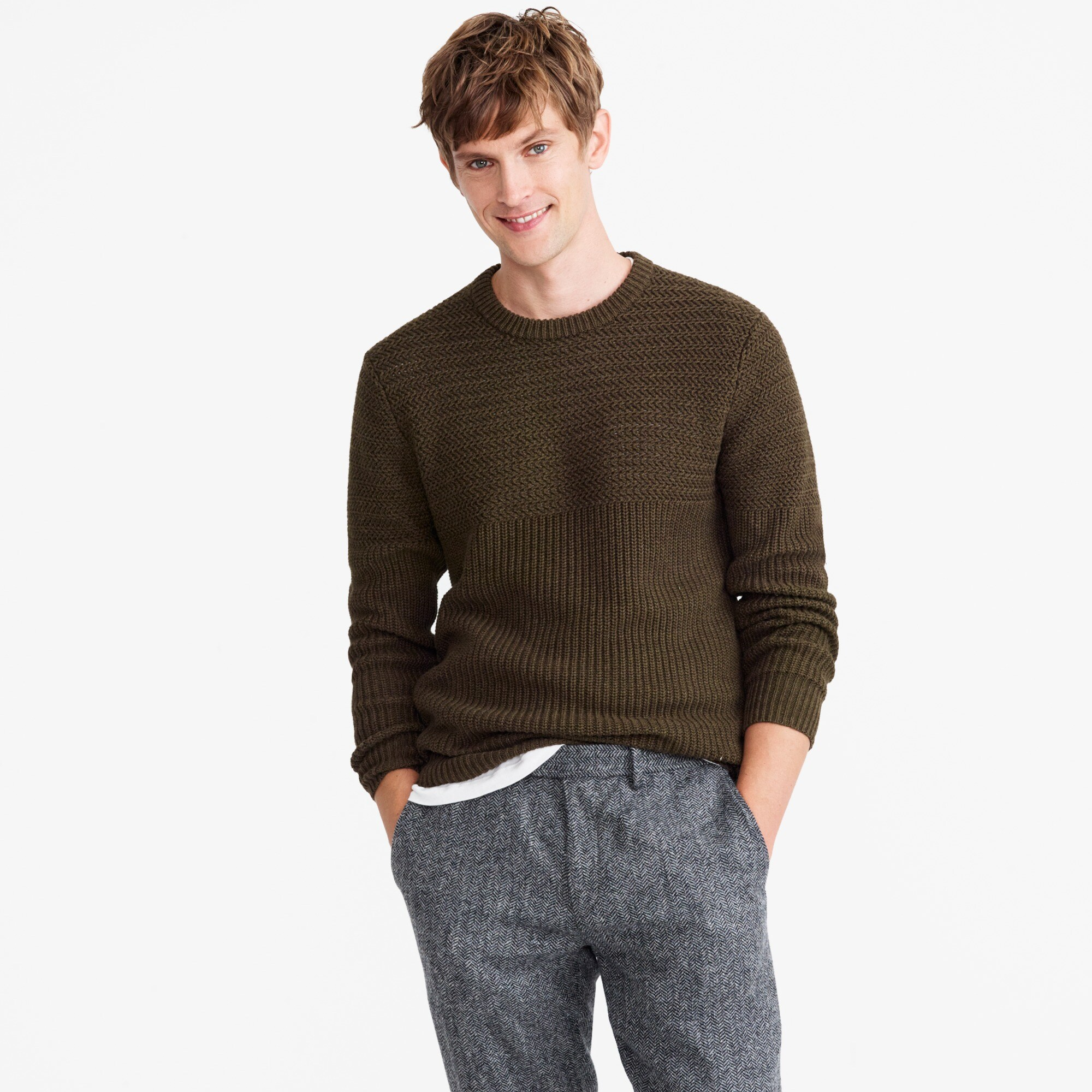 half-ribbed cotton crewneck sweater : men cotton