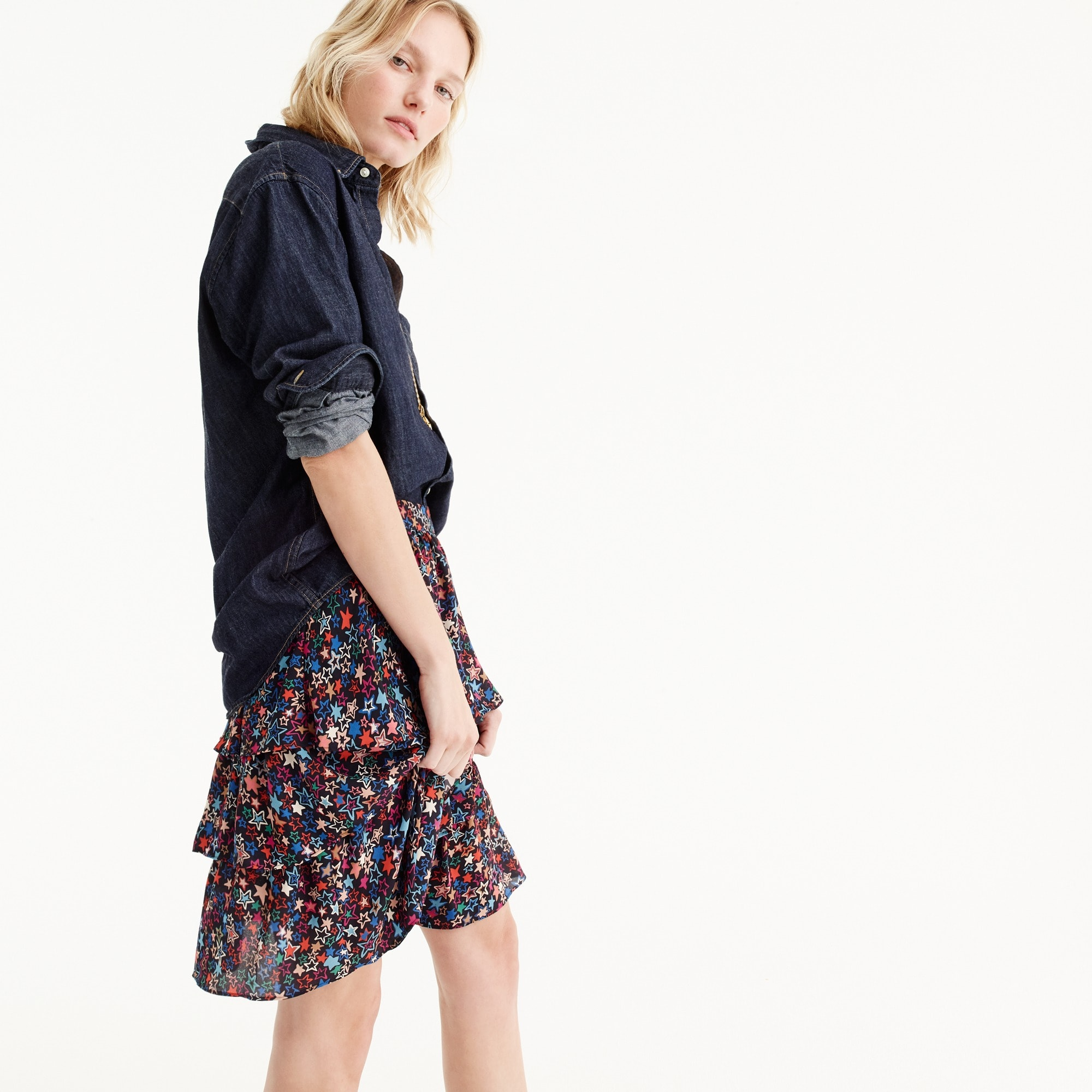 Tiered skirt in kaleidoscope star print