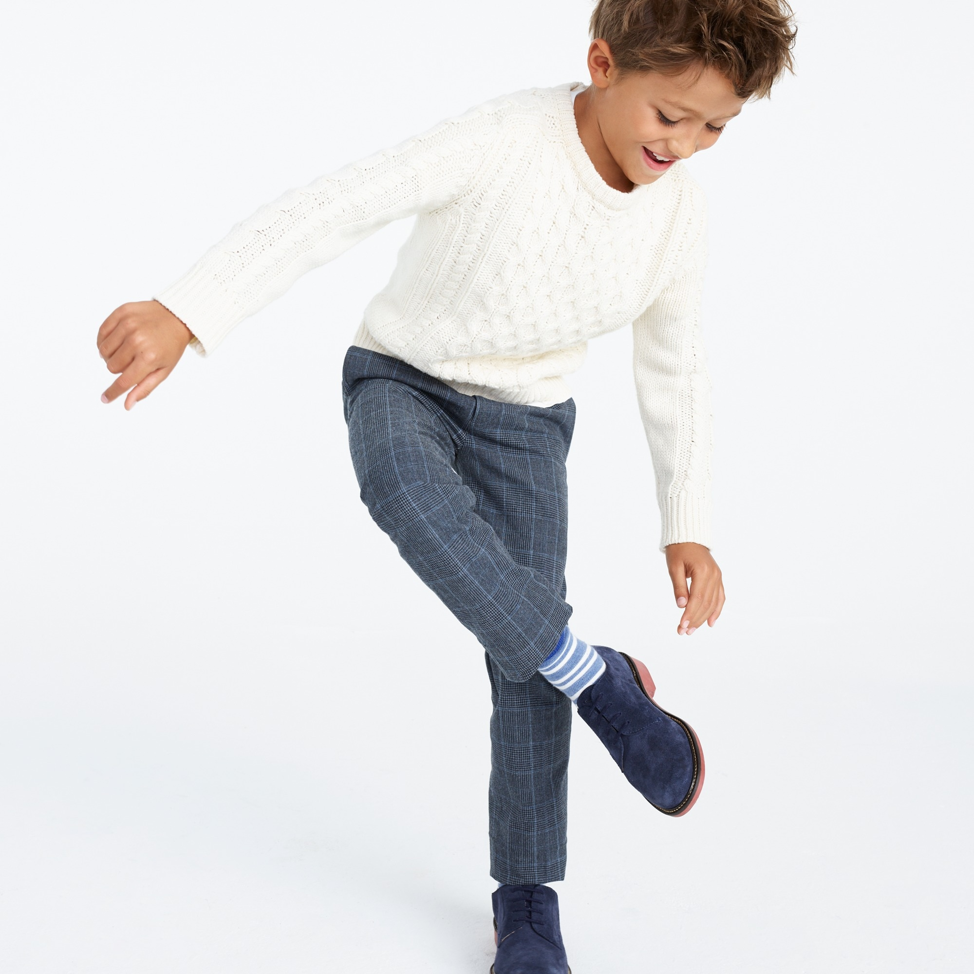 boys' trousers in glen plaid : boy dress pants