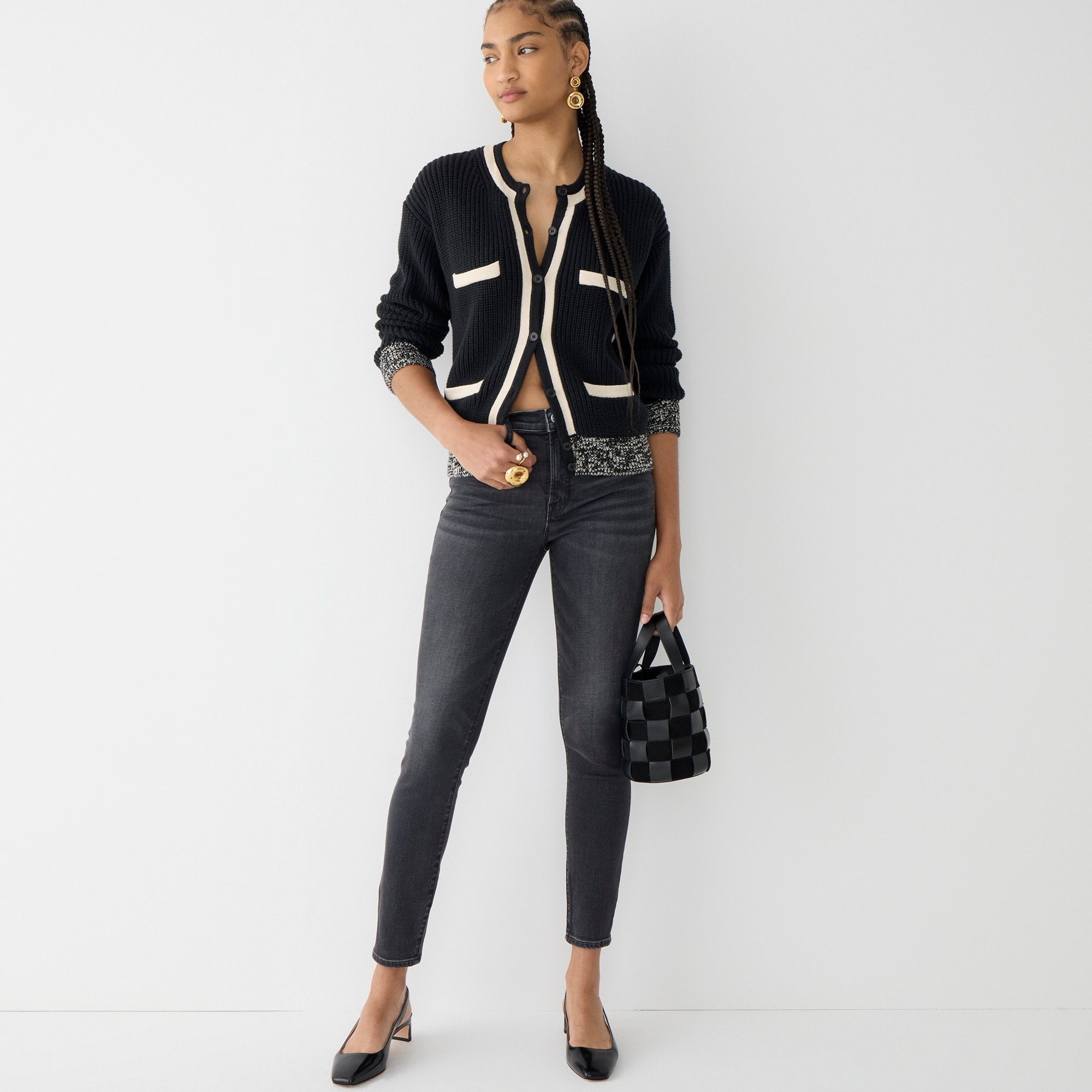"Image 4 for Tall 9"" high rise toothpick jean in charcoal wash"