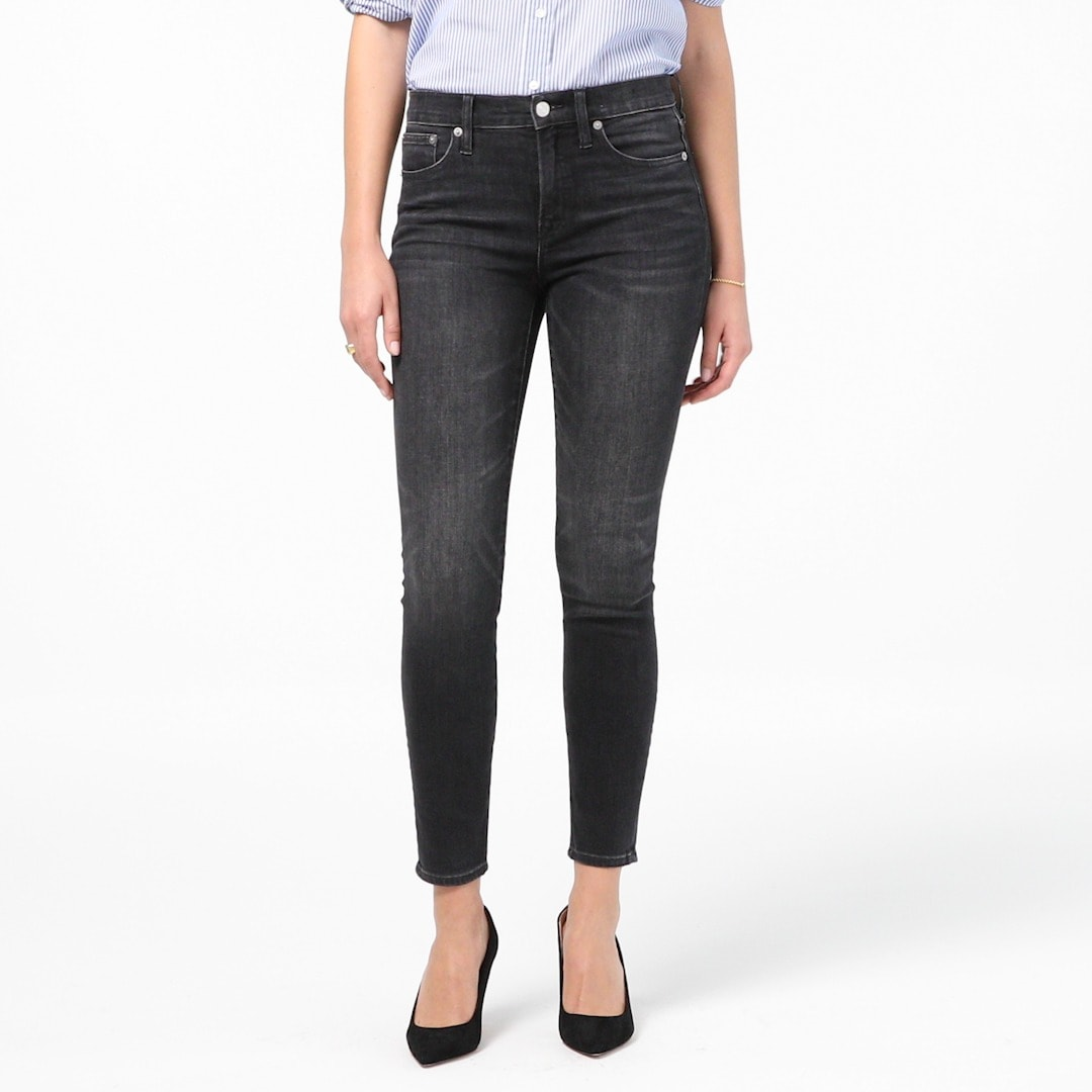 "Tall 9"" high rise toothpick jean in charcoal wash"