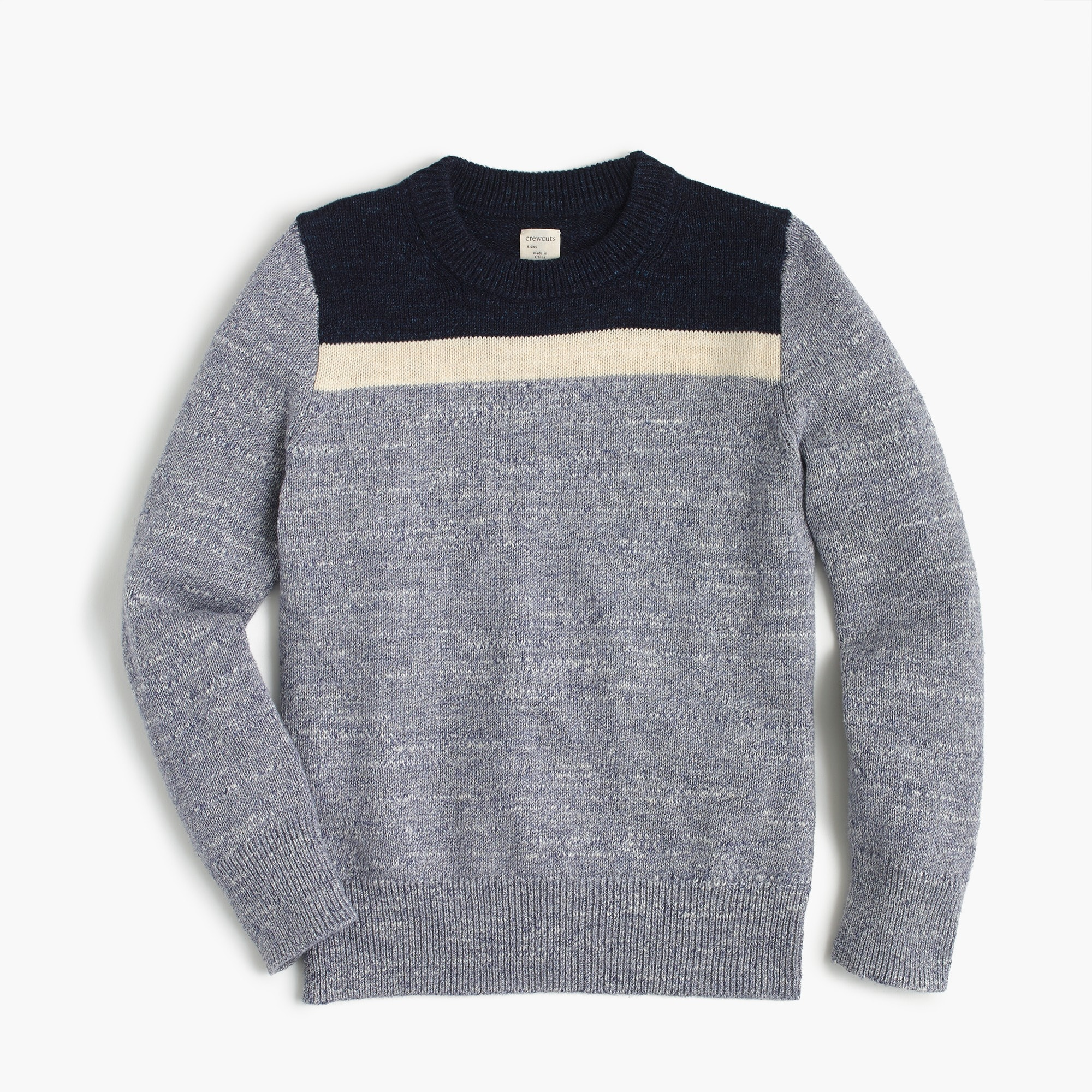 Boys' colorblocked cotton crewneck sweater boy new arrivals c