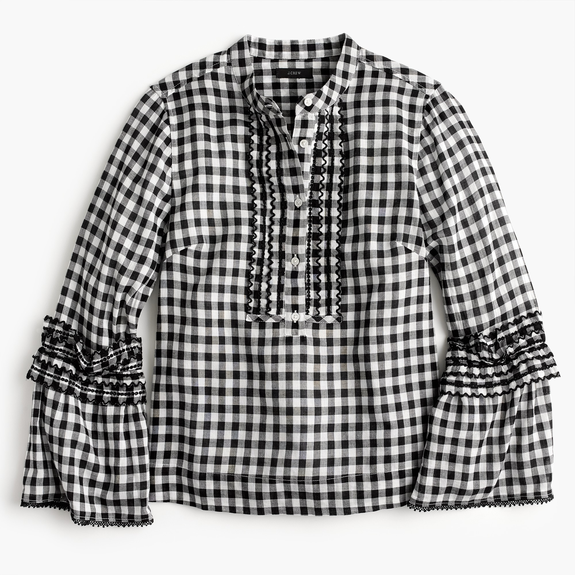 Petite embroidered bell-sleeve top in gingham