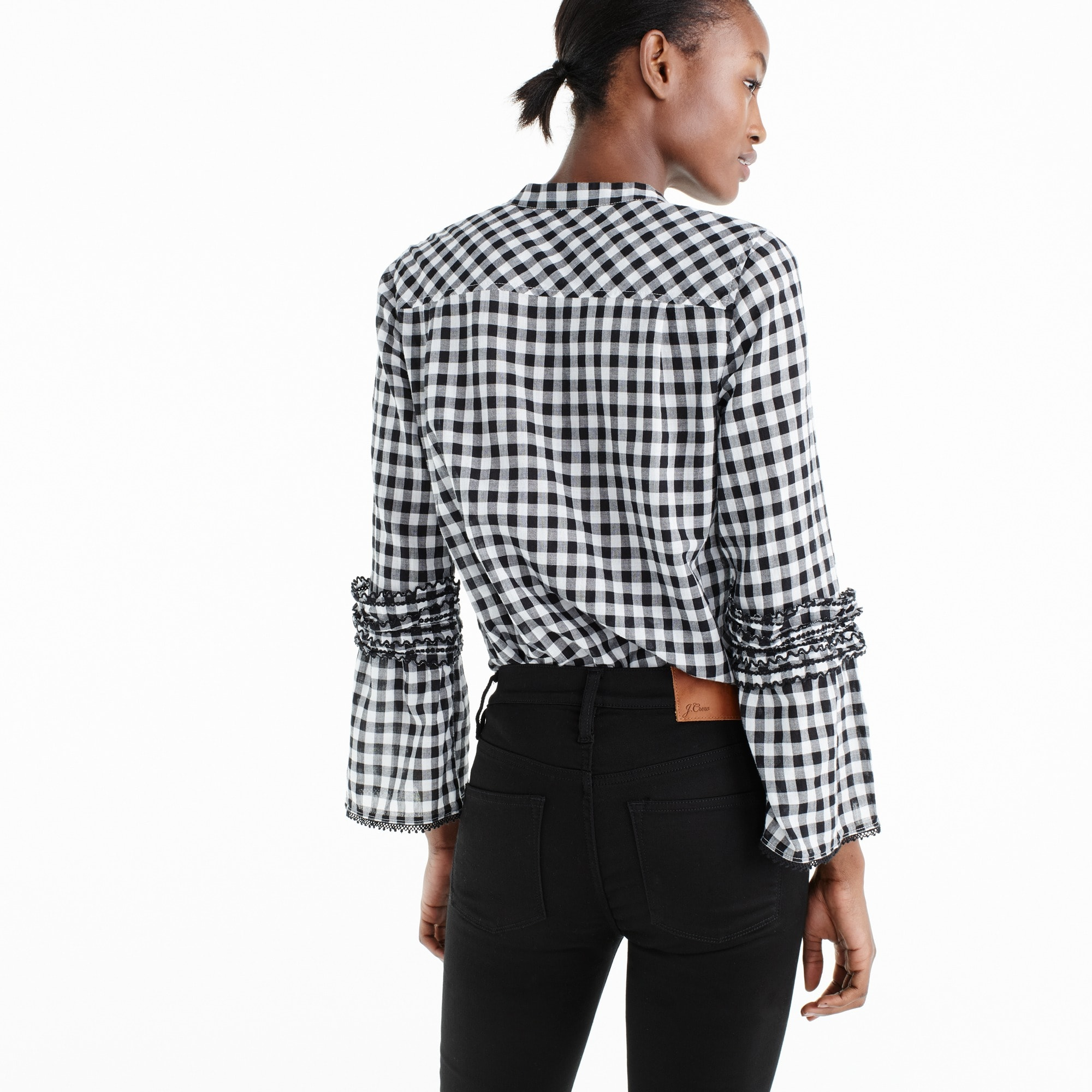 Image 4 for Petite embroidered bell-sleeve top in gingham