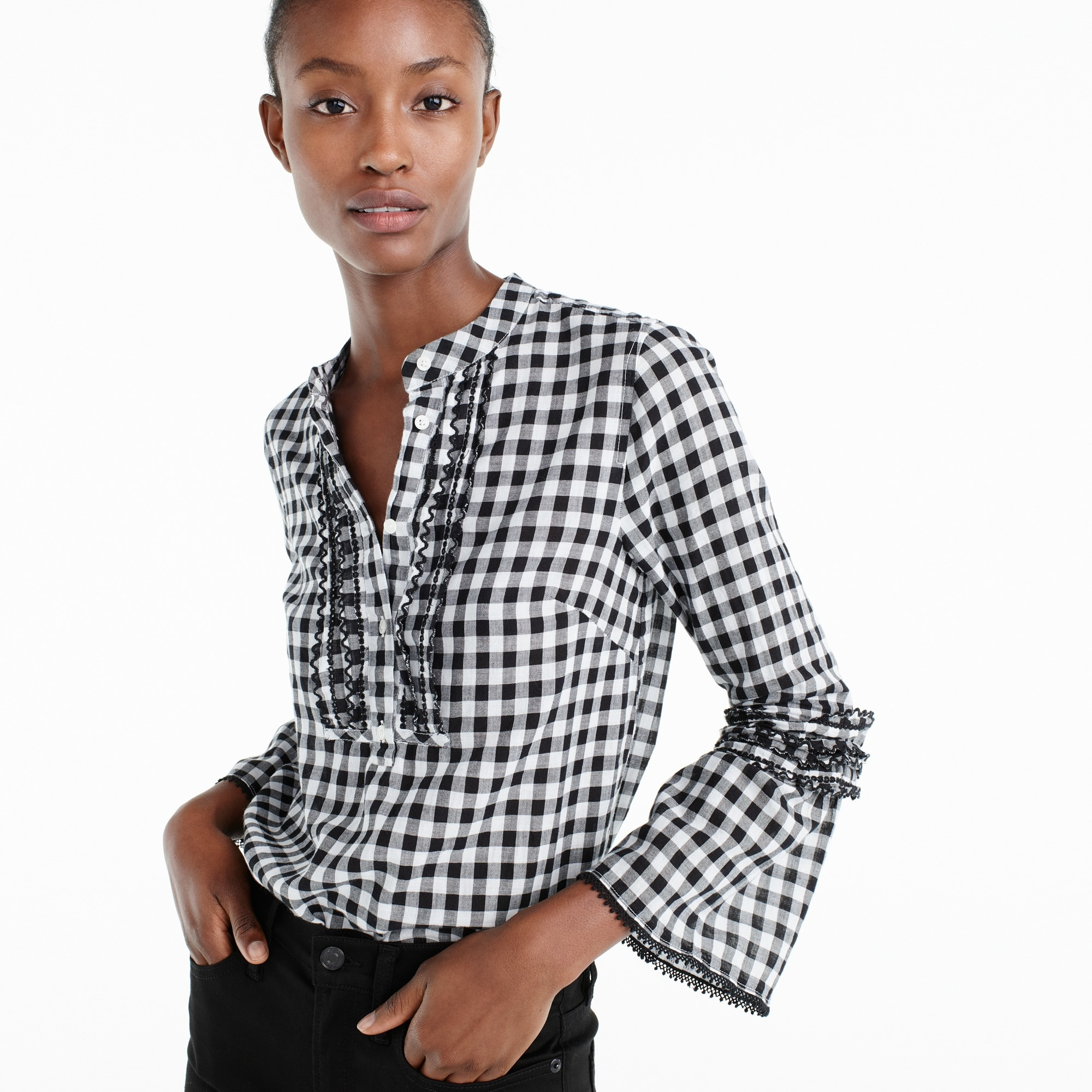 embroidered bell-sleeve top in gingham : women sleeved