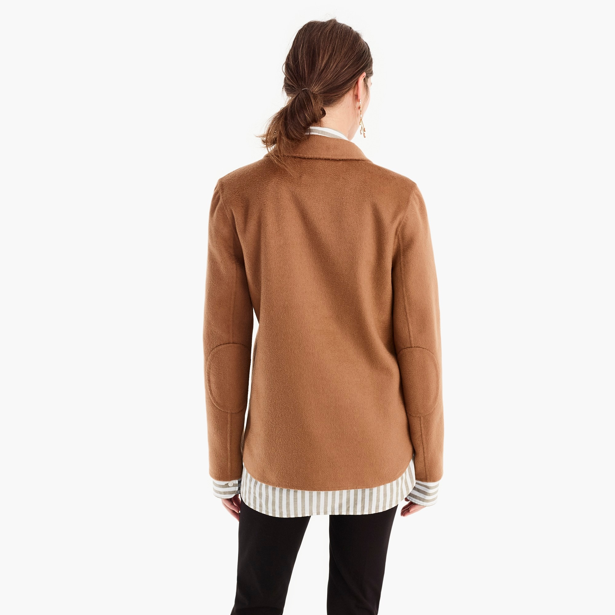Collection double-faced cashmere funnel neck popover jacket