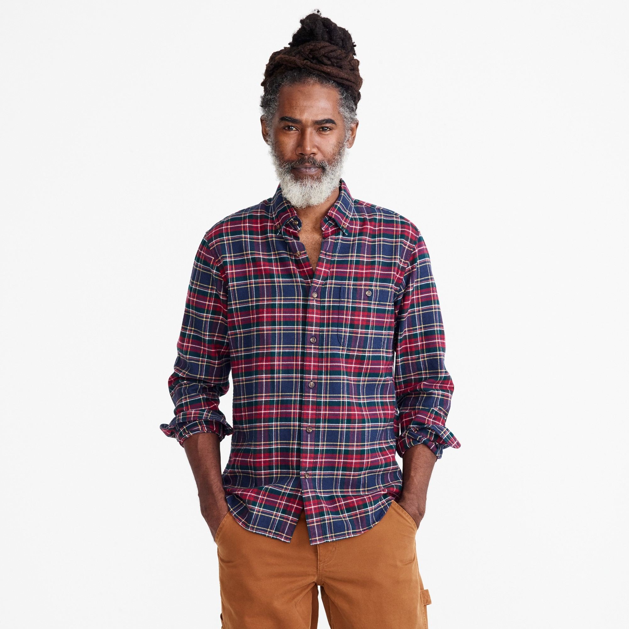 Slim brushed heather elbow-patch shirt in plaid