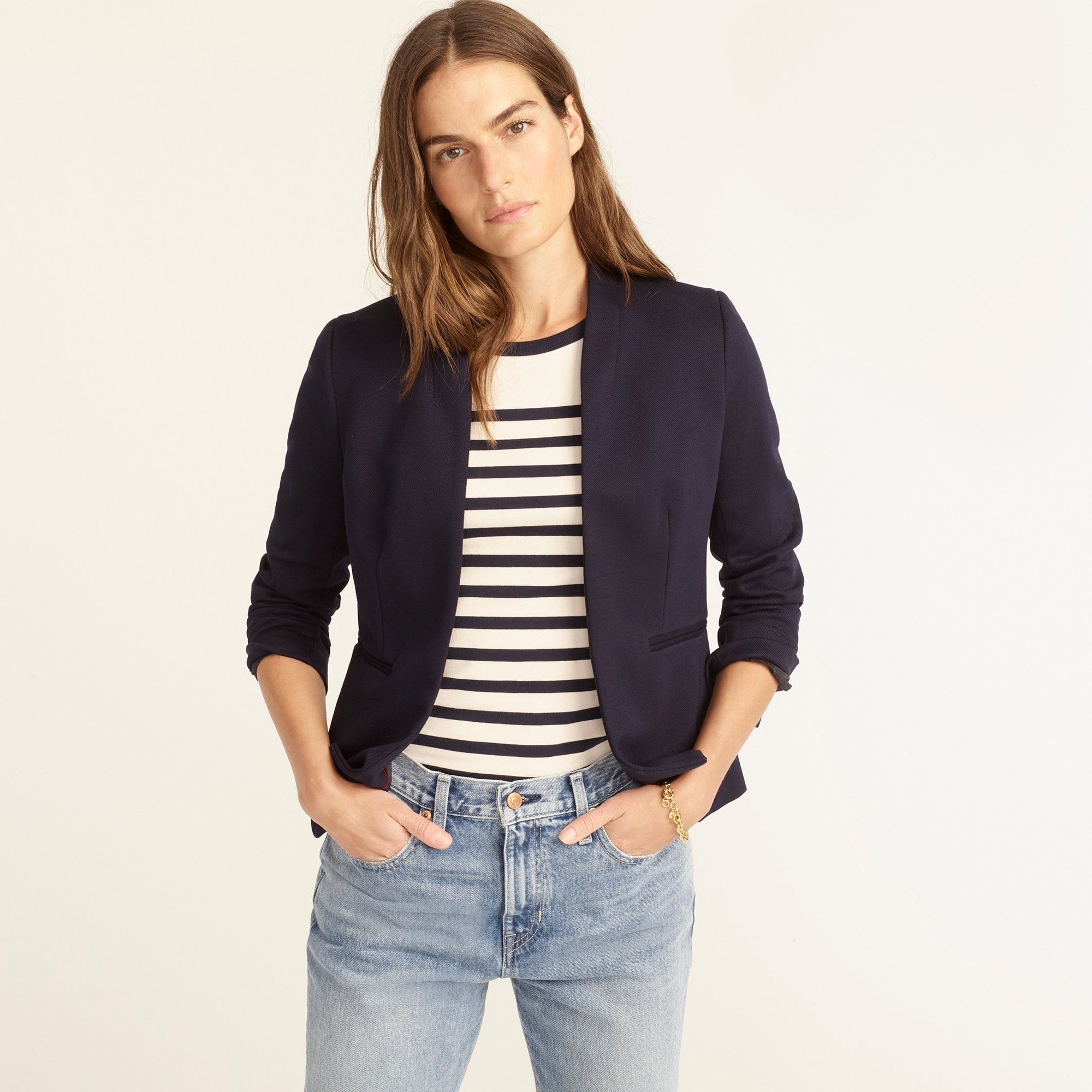 Petite going-out blazer in stretch twill