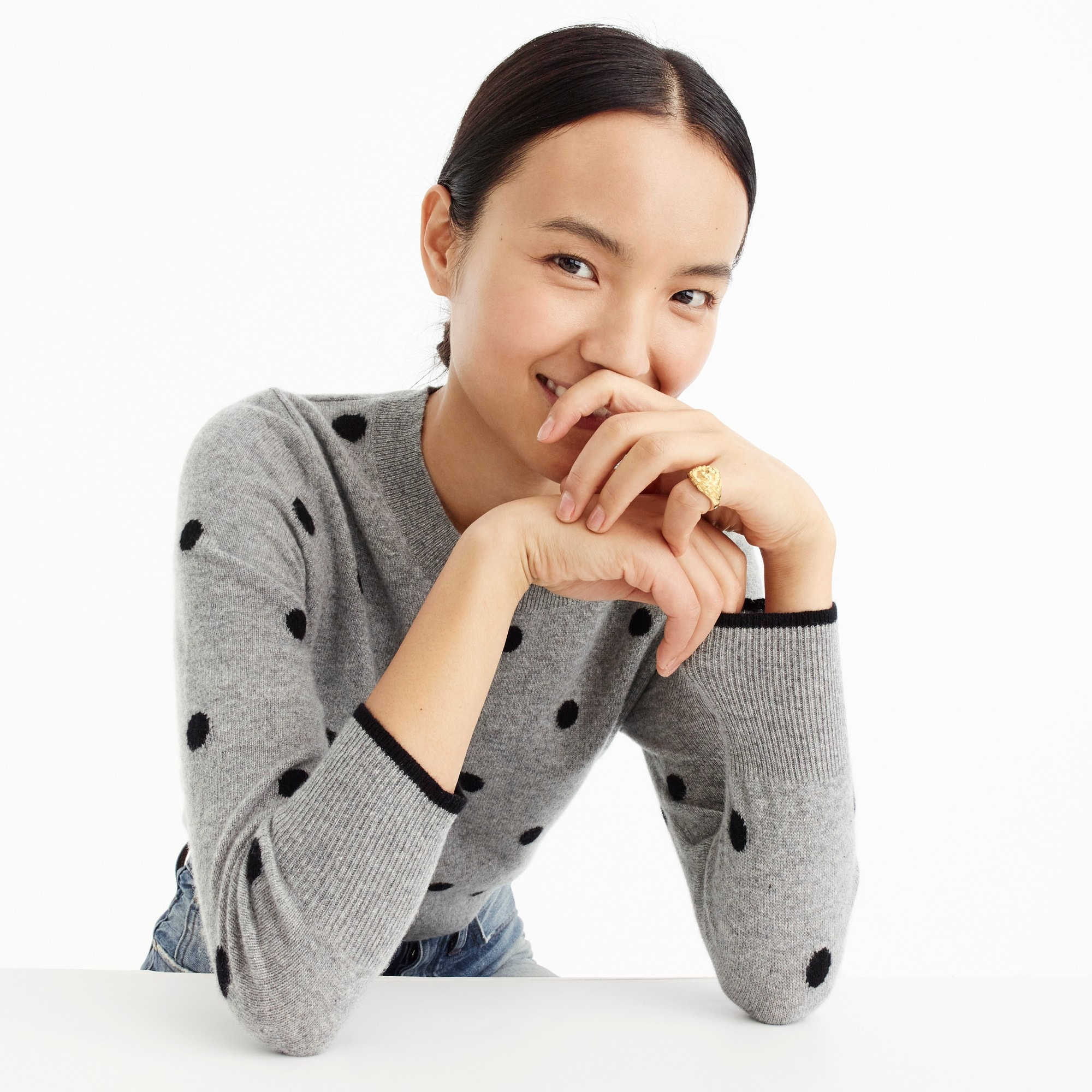 Image 1 for Polka dot sweater in everyday cashmere