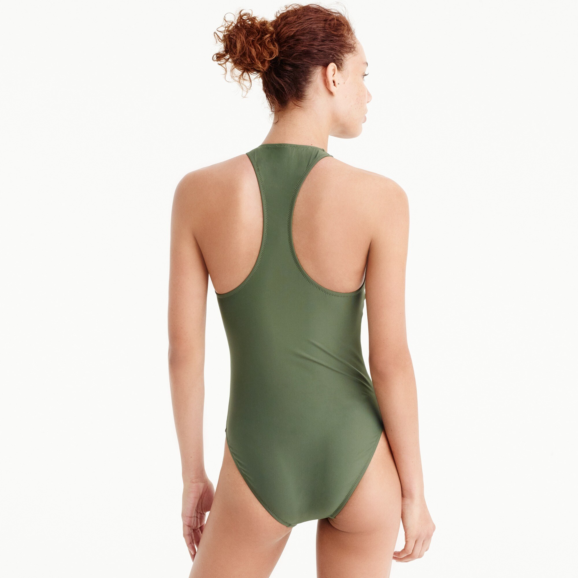 Zip-front one-piece swimsuit