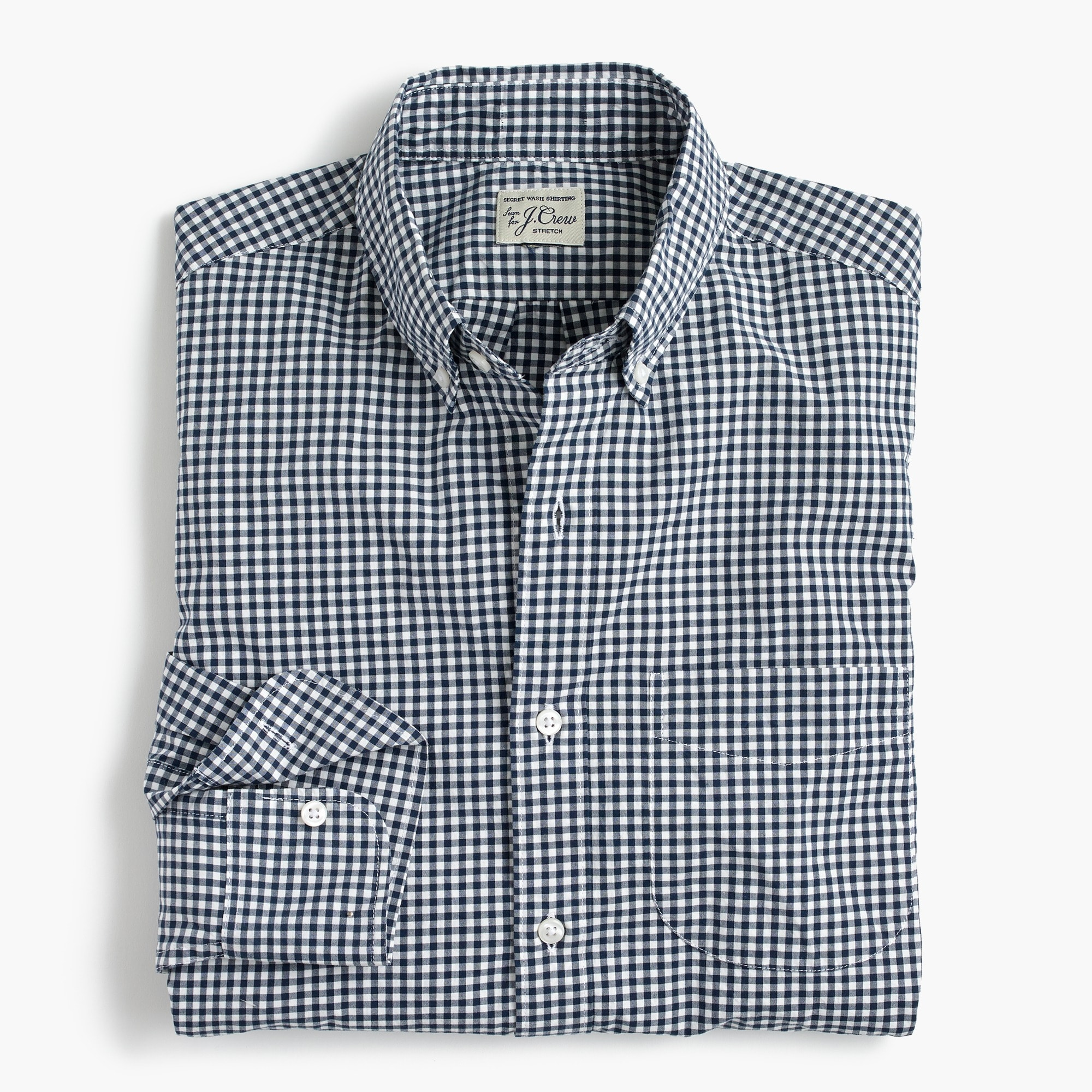 mens Untucked stretch Secret Wash shirt in gingham poplin