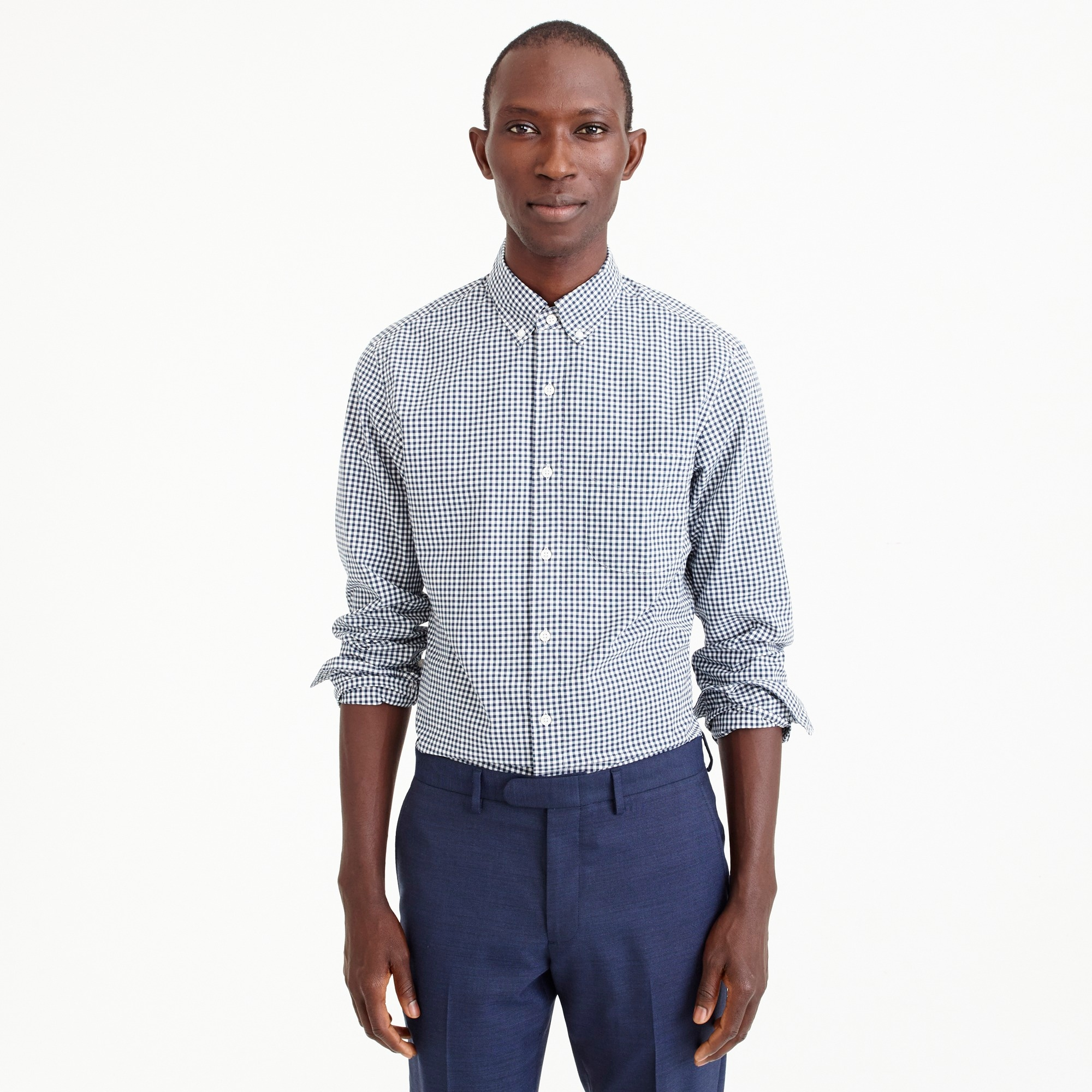 mens Slim stretch Secret Wash shirt in gingham poplin