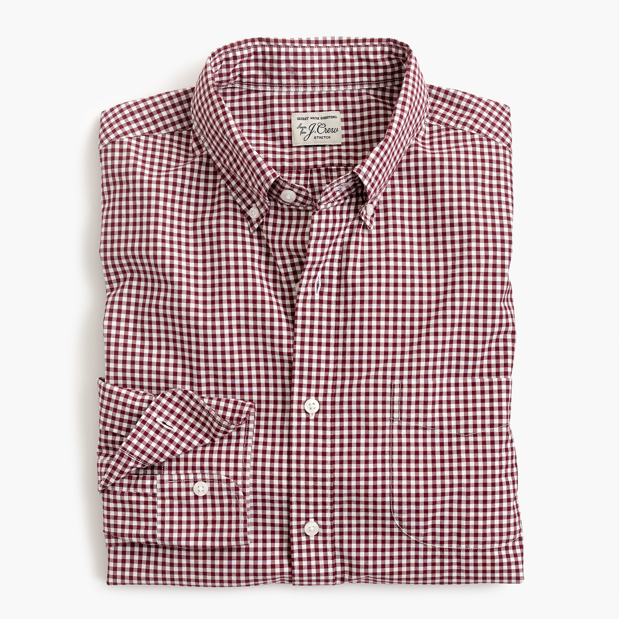Tall stretch Secret Wash shirt in gingham poplin