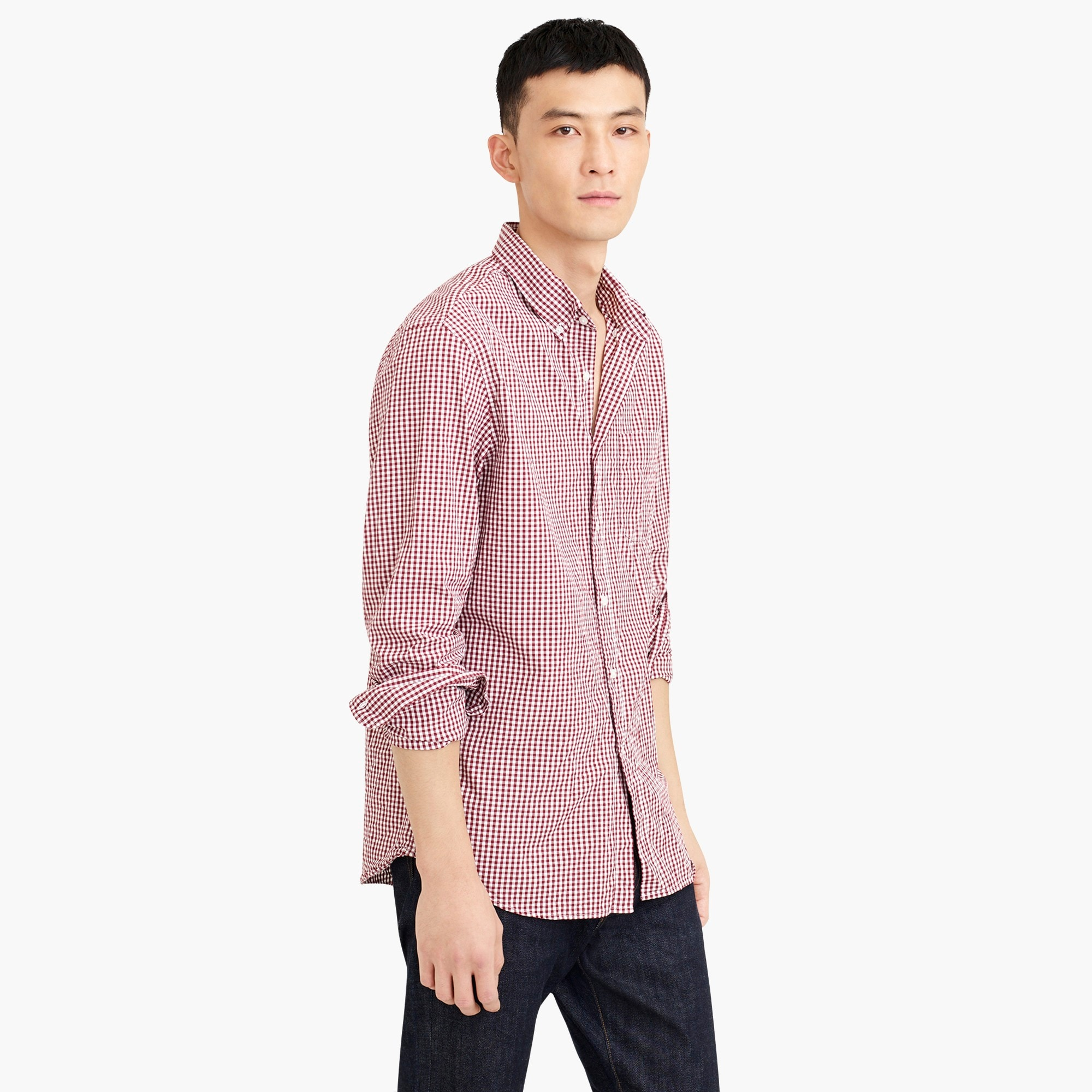 Image 2 for Tall stretch Secret Wash shirt in gingham poplin