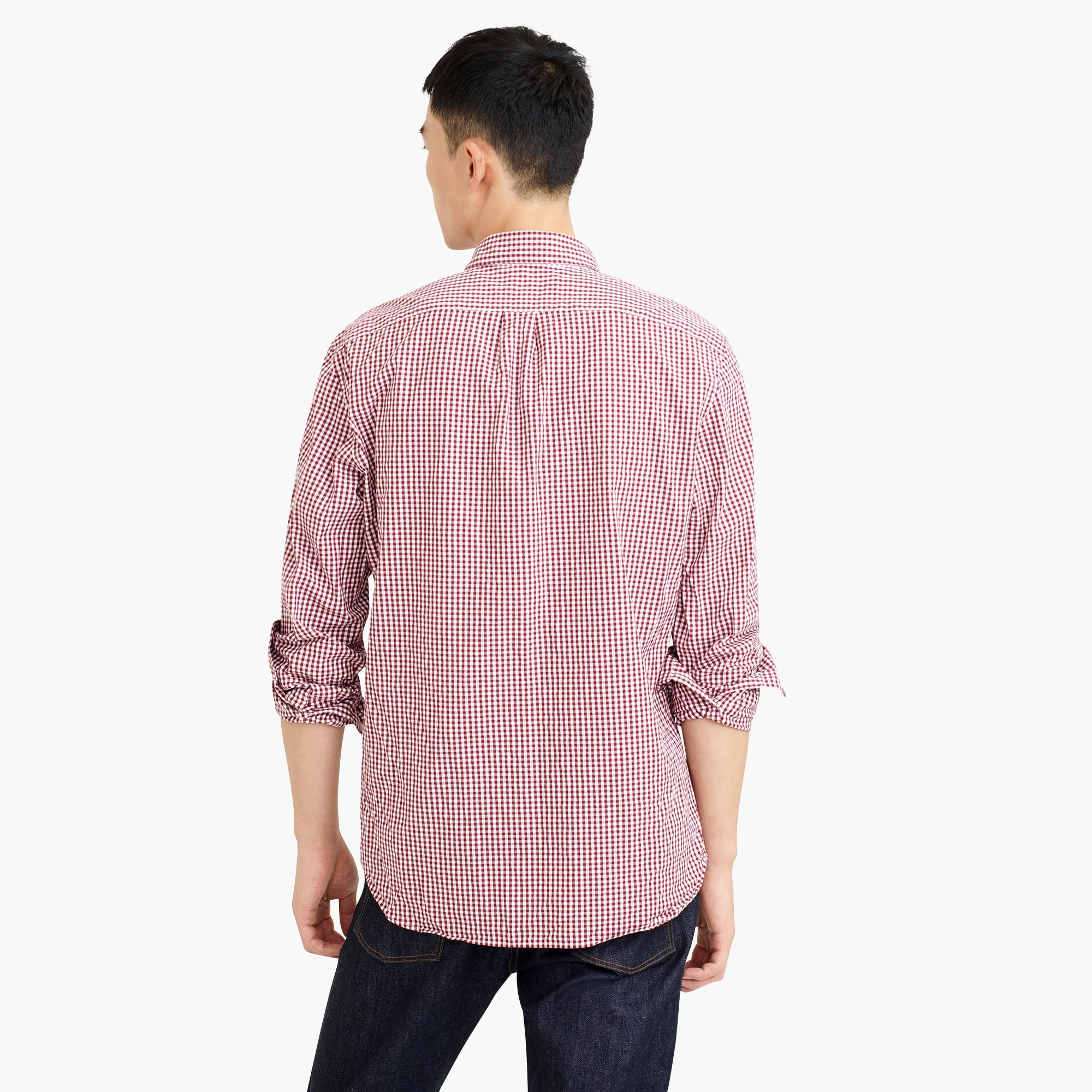 Image 3 for Tall stretch Secret Wash shirt in gingham poplin