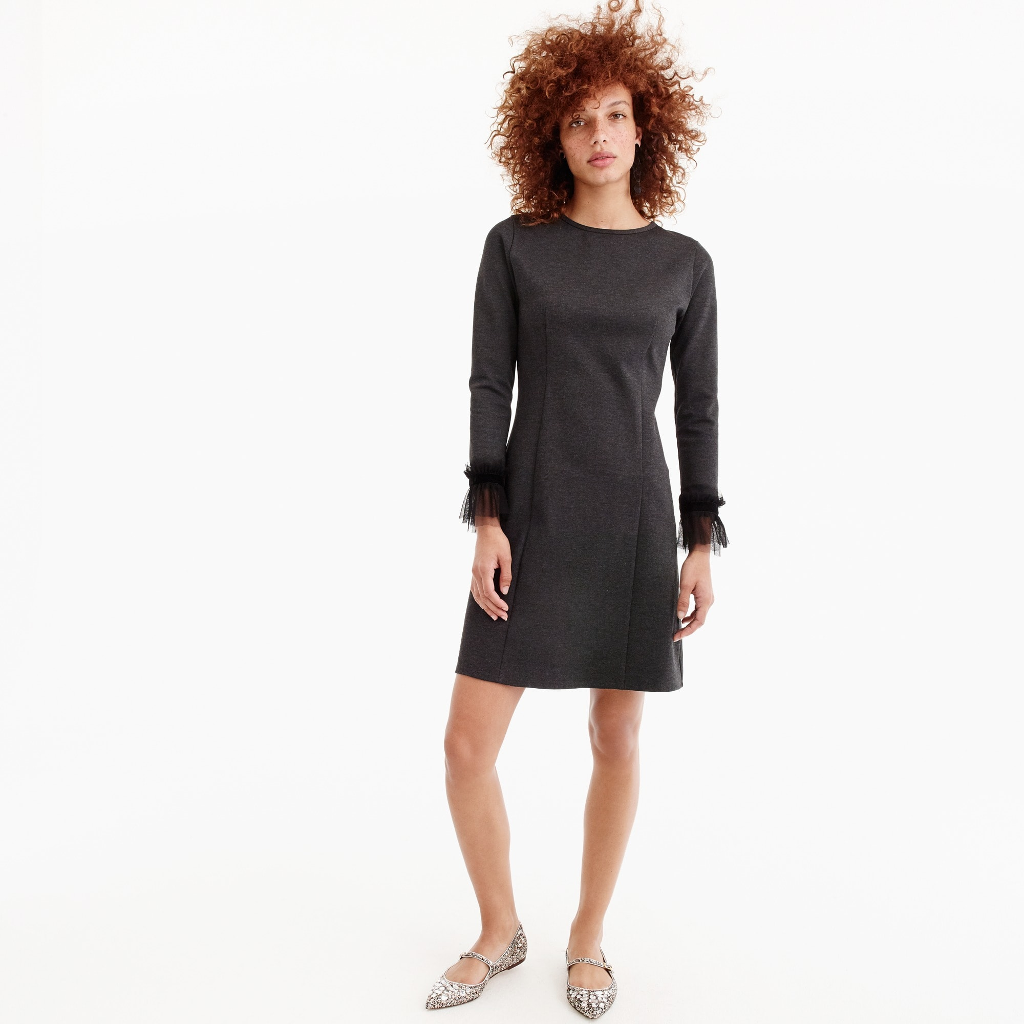 Petite Long-sleeve sheath dress with tulle