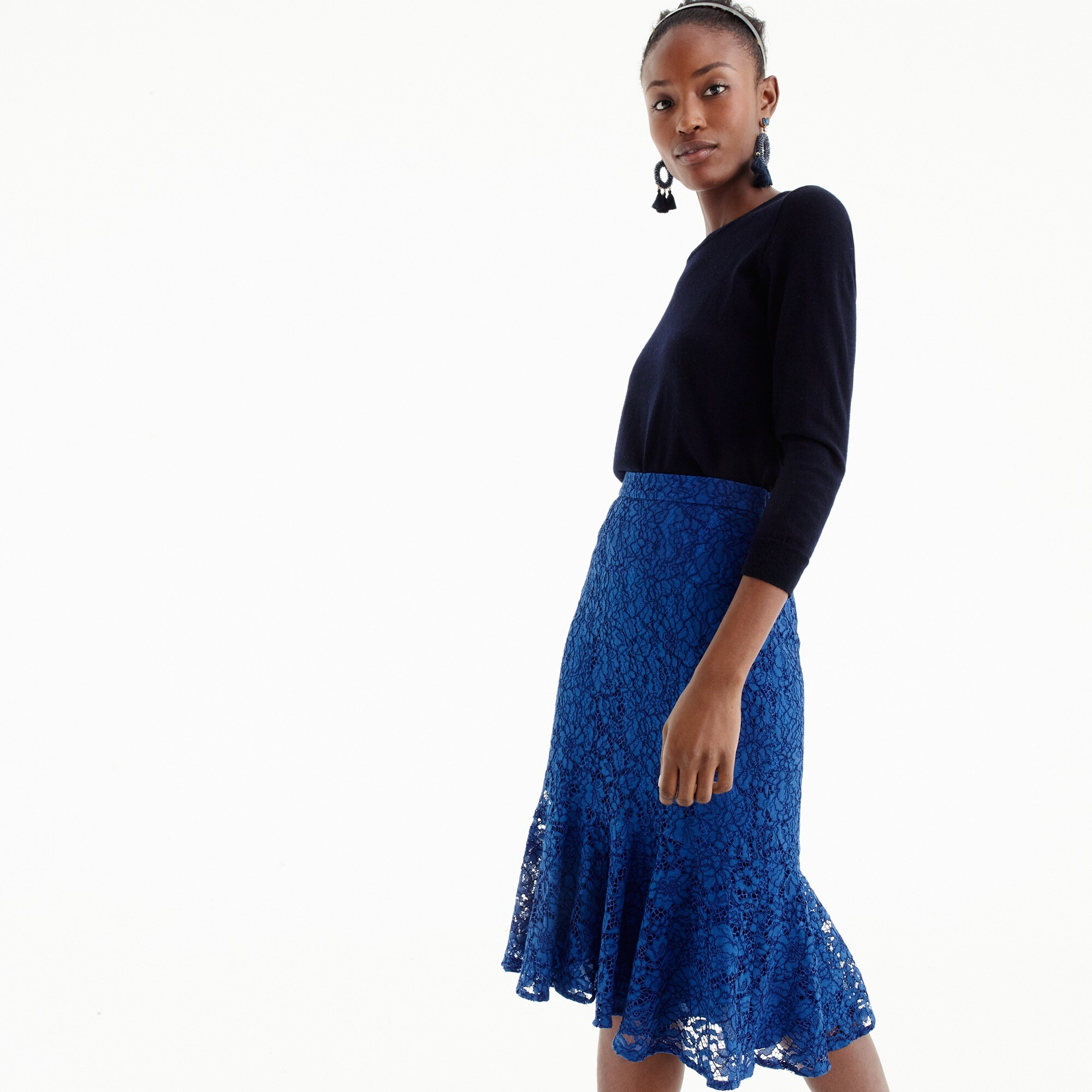 Tall lace trumpet skirt