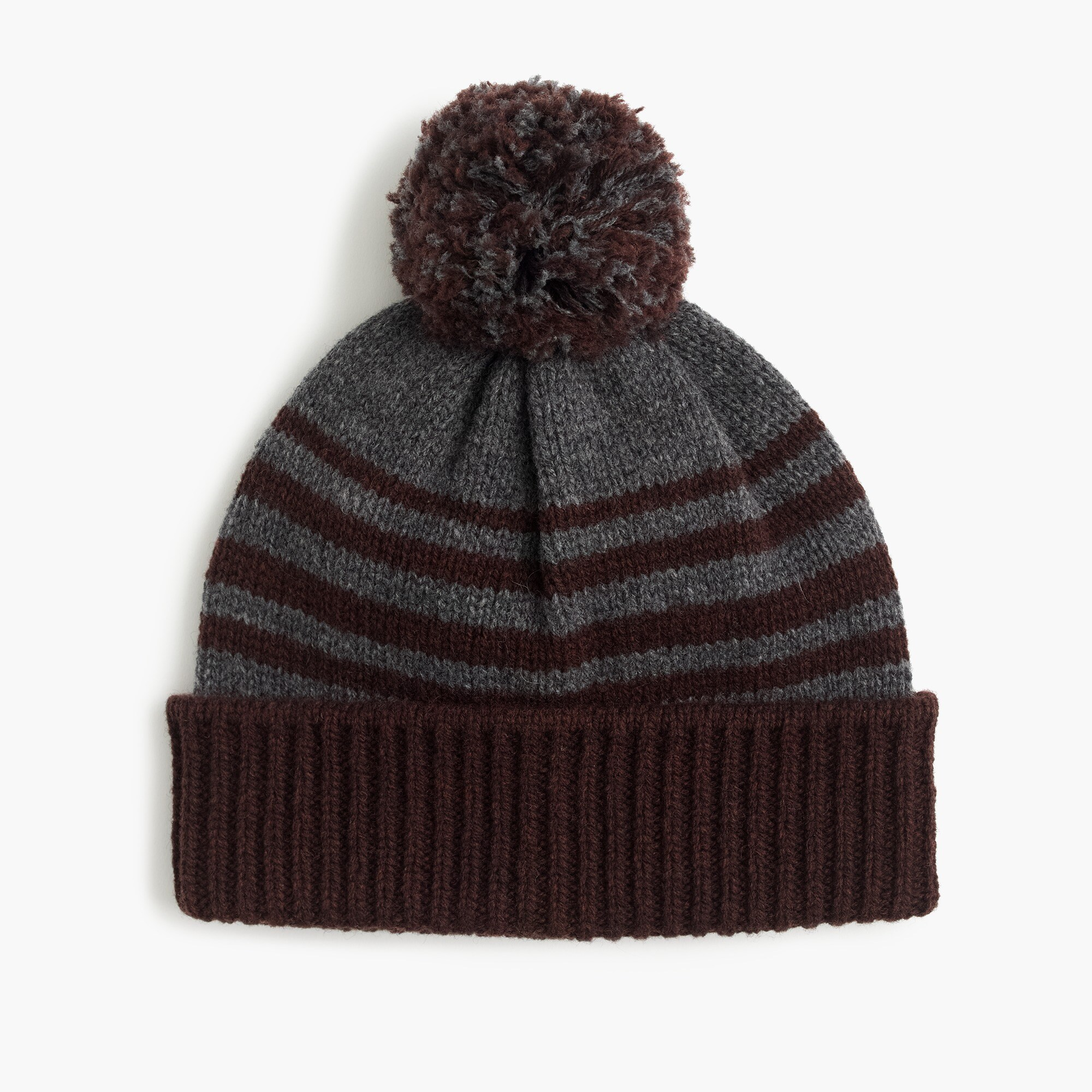Lambswool beanie hat in brown stripe
