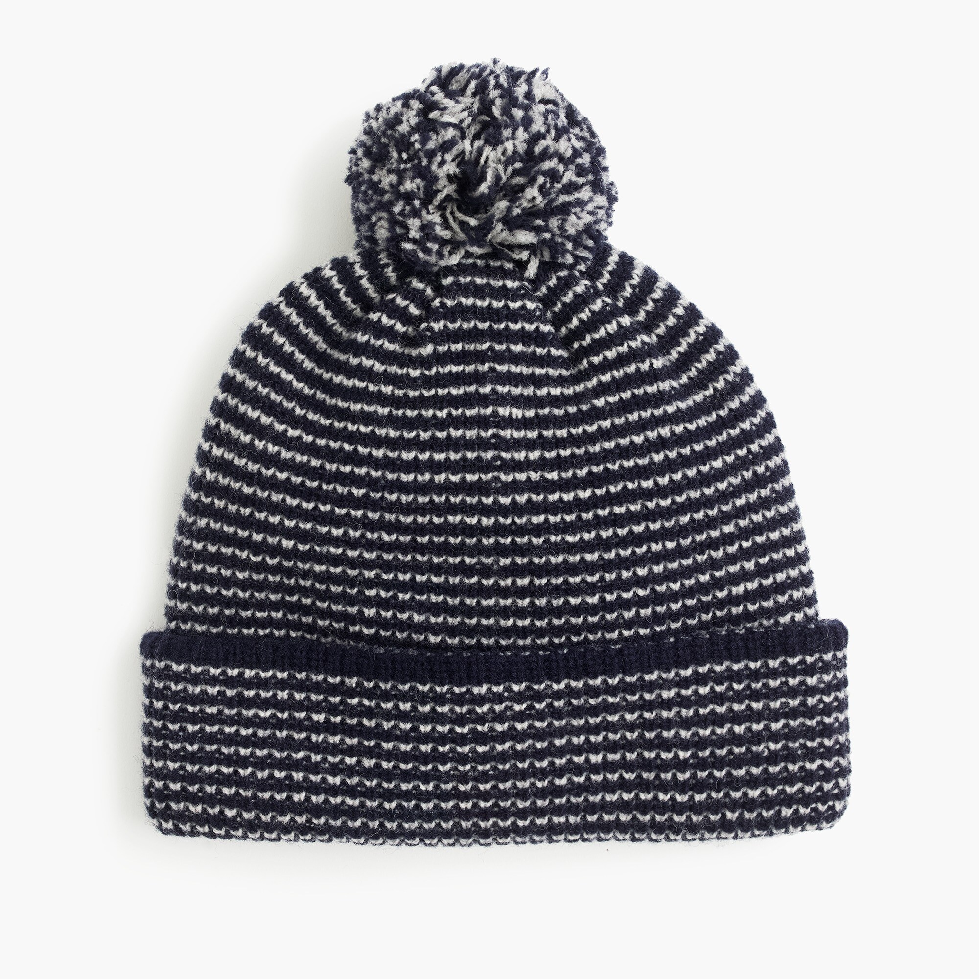 Lambswool beanie hat in thin stripe