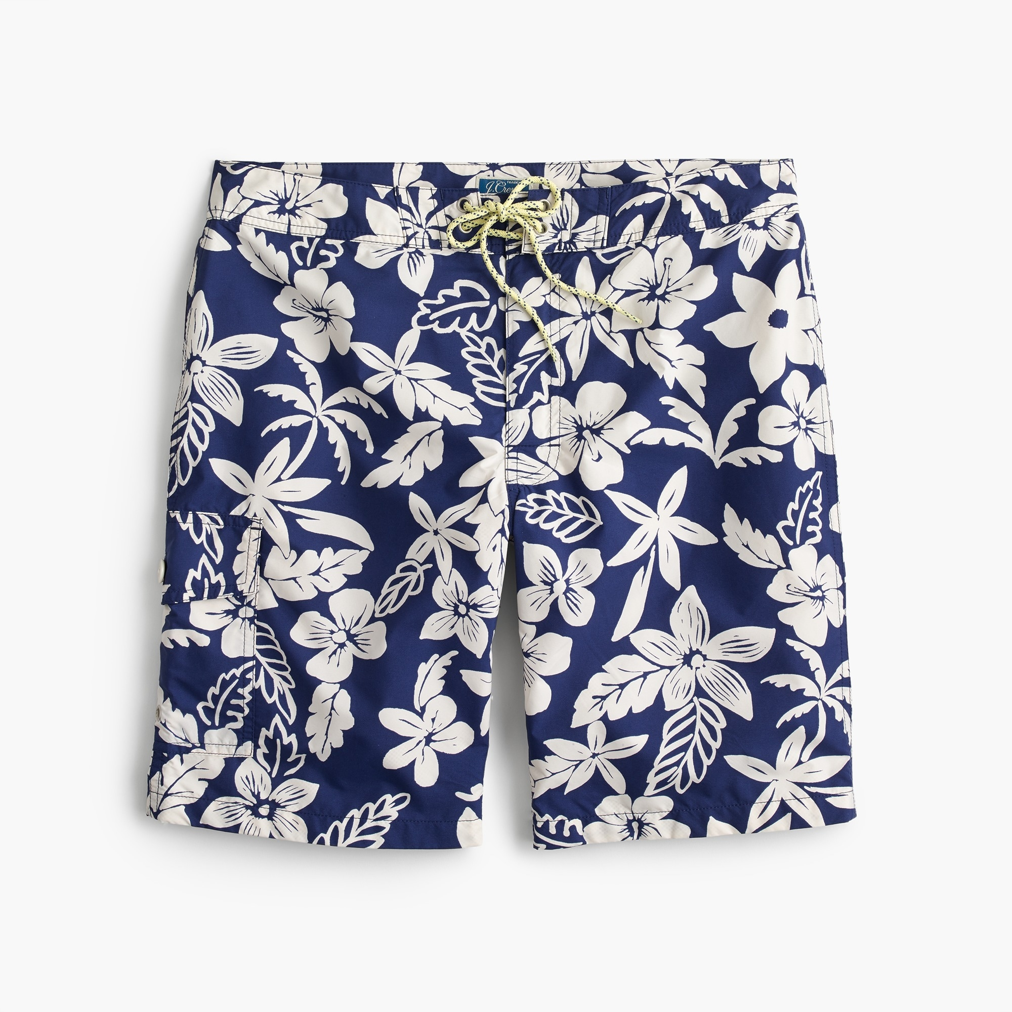 "9"" board short in blue and white floral"