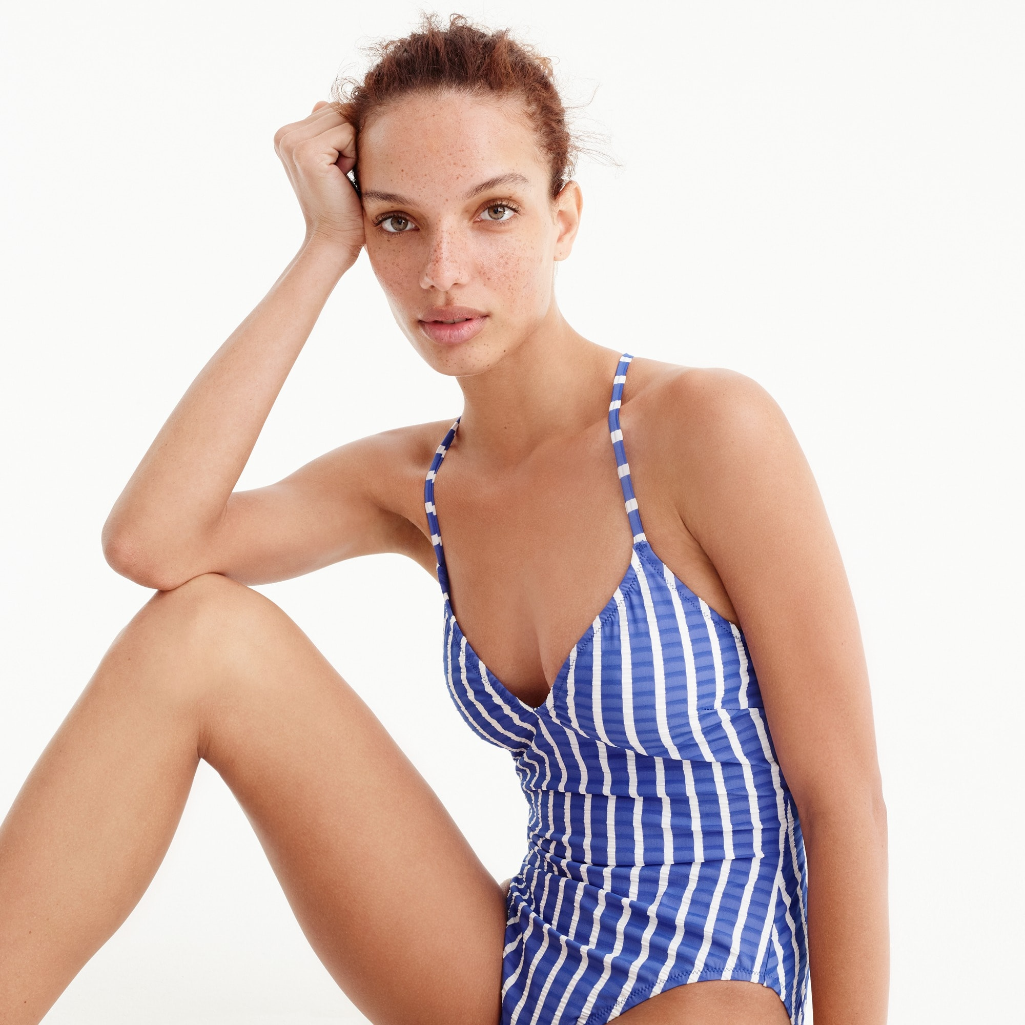 Lace-up back one-piece in puckered stripe