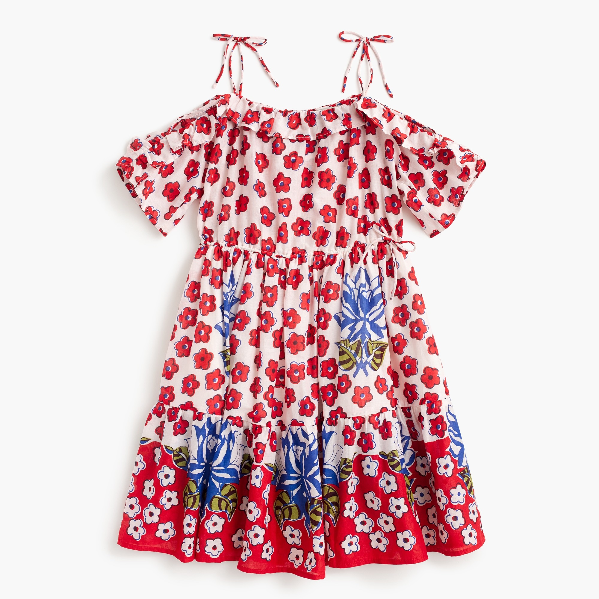 Girls' tie-shoulder dress in red floral