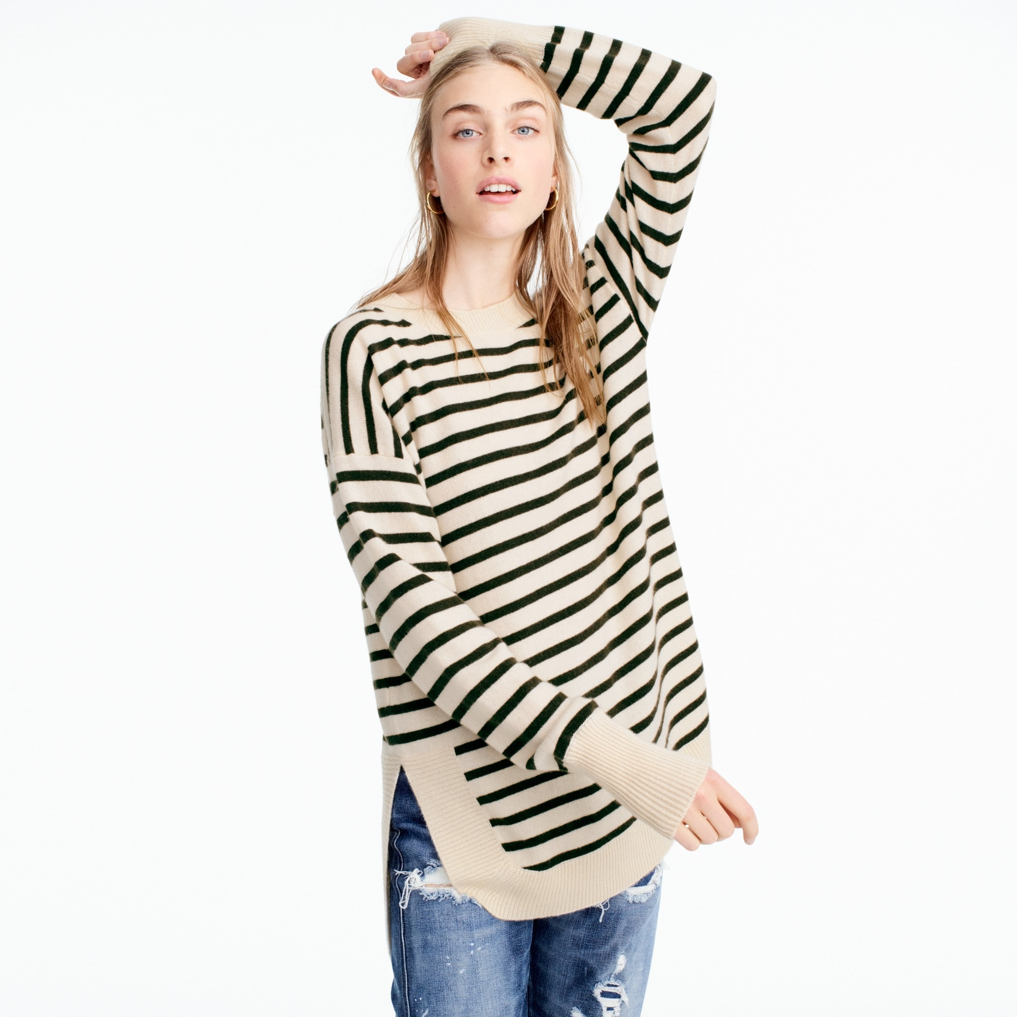 Image 3 for Italian cashmere side-slit tunic in stripes