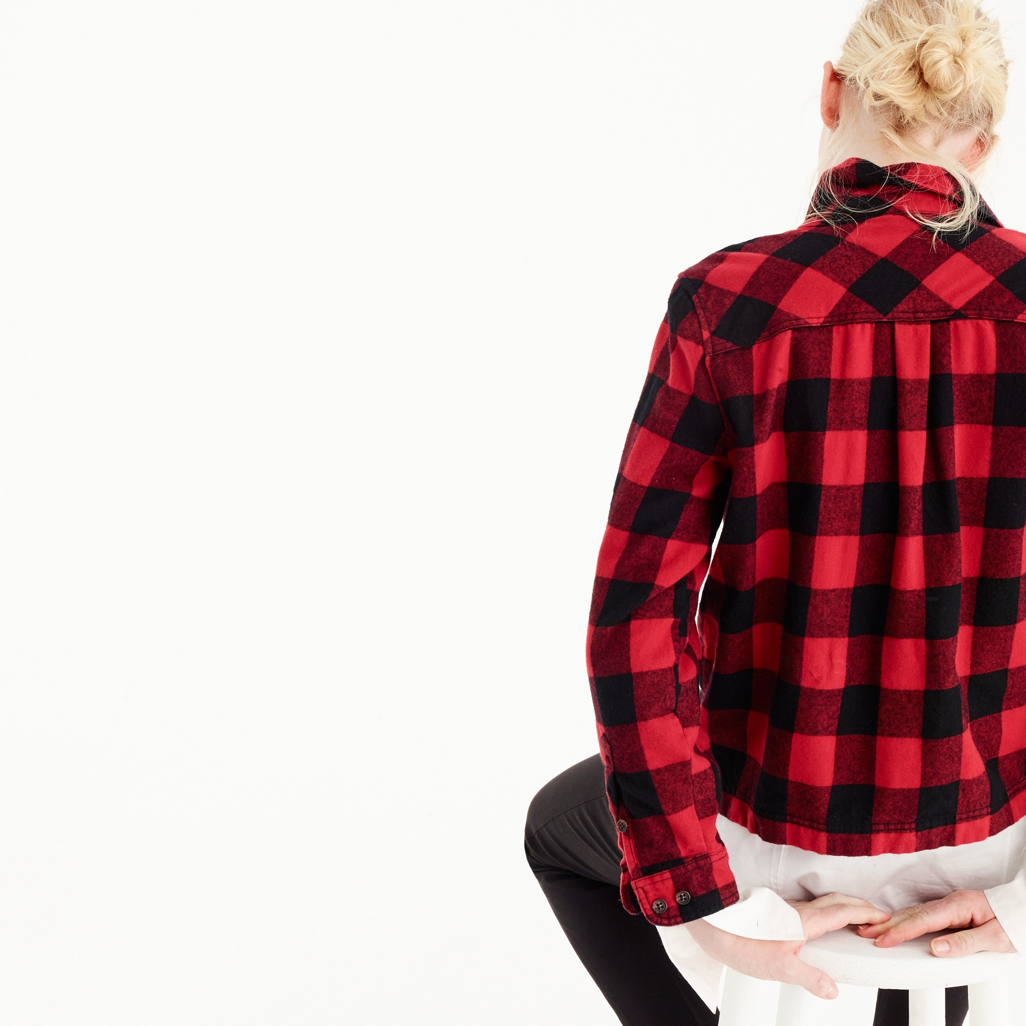Petite shirt-jacket in buffalo check