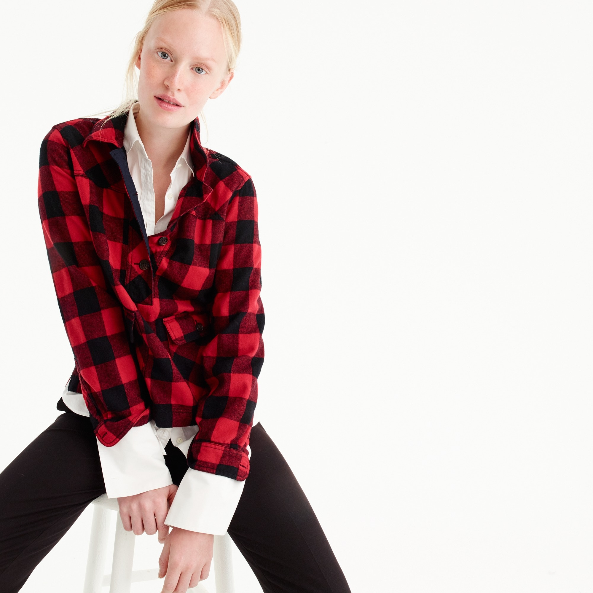 petite shirt-jacket in buffalo check : women shirts & tops