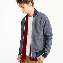 Brushed cotton fleece bomber jacket